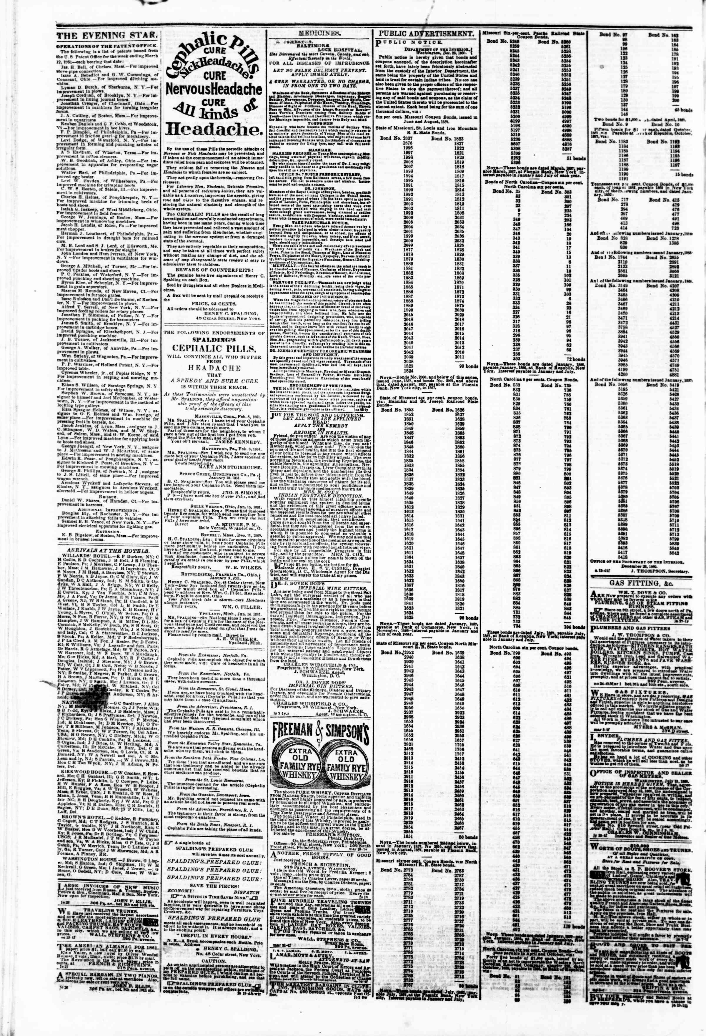 Newspaper of Evening Star dated March 14, 1861 Page 4