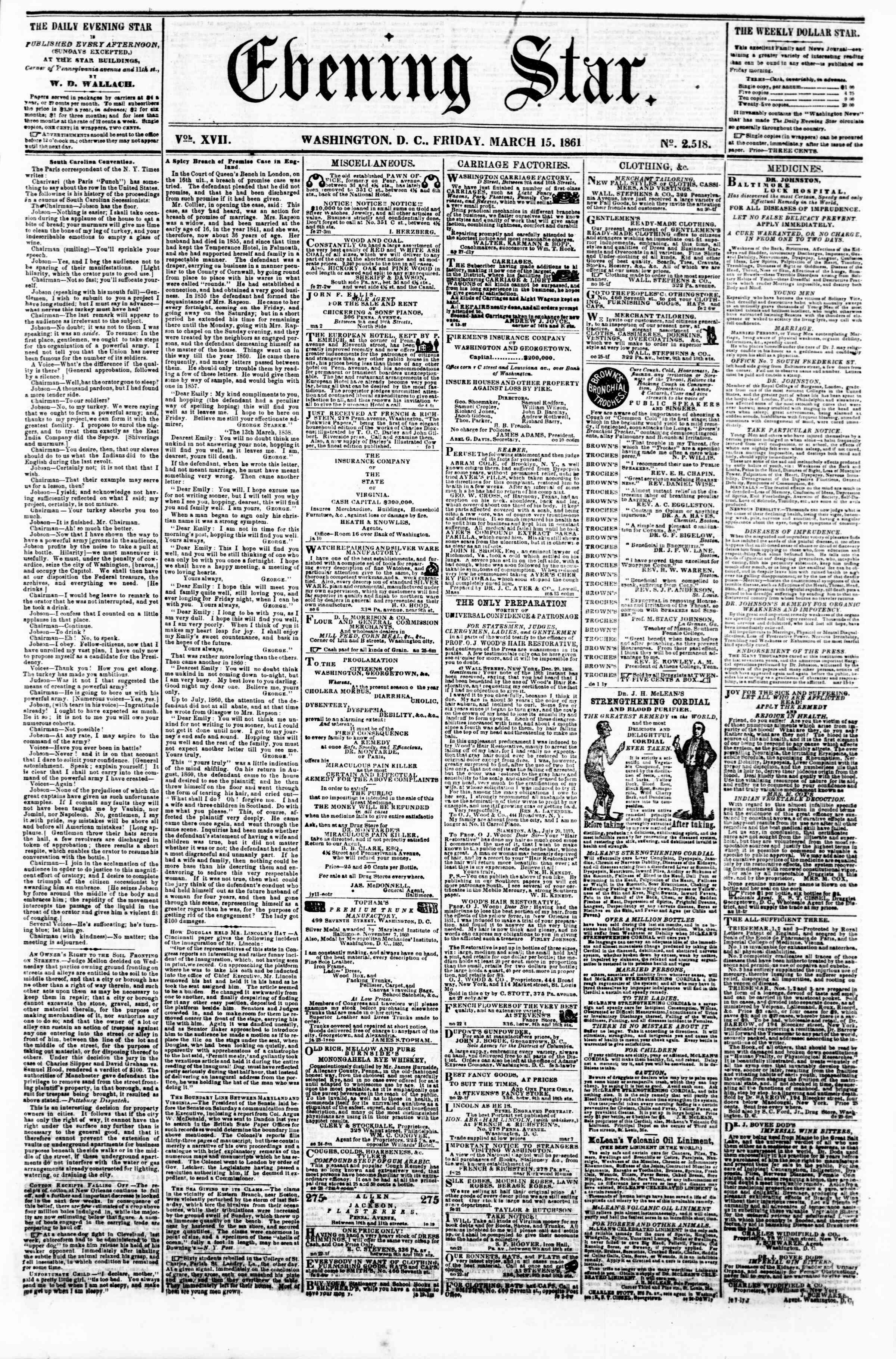 Newspaper of Evening Star dated March 15, 1861 Page 1