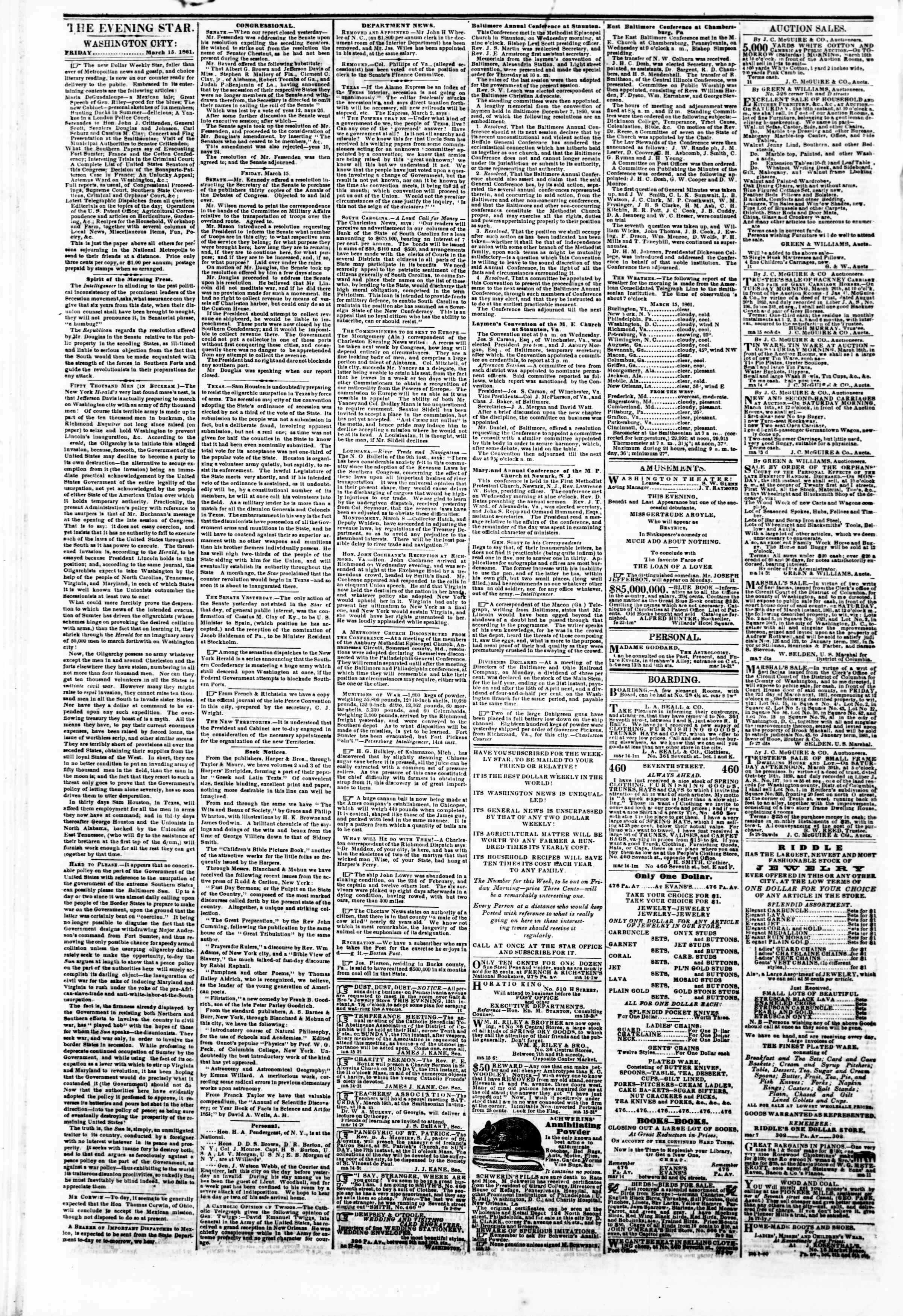 Newspaper of Evening Star dated March 15, 1861 Page 2
