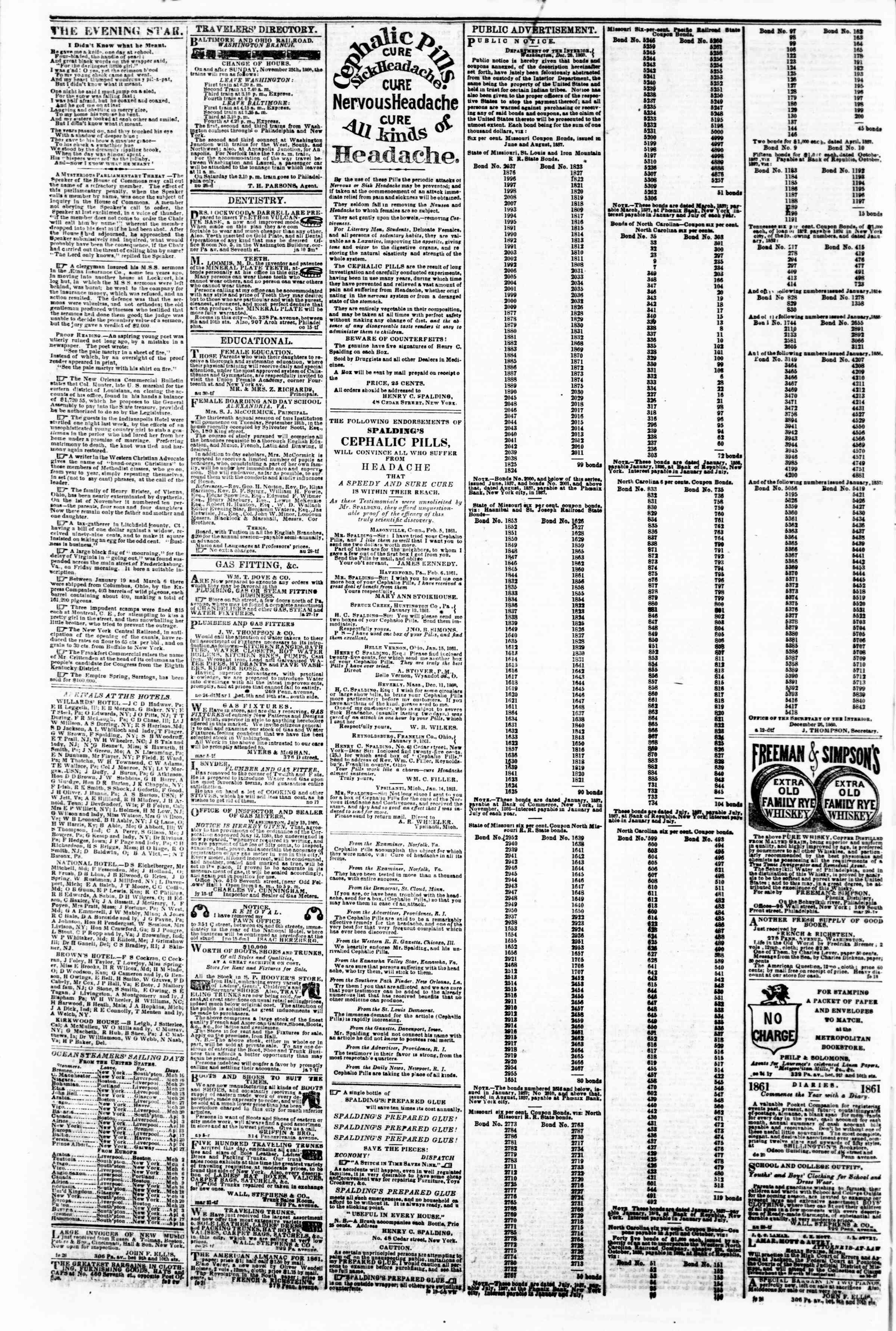 Newspaper of Evening Star dated March 15, 1861 Page 4
