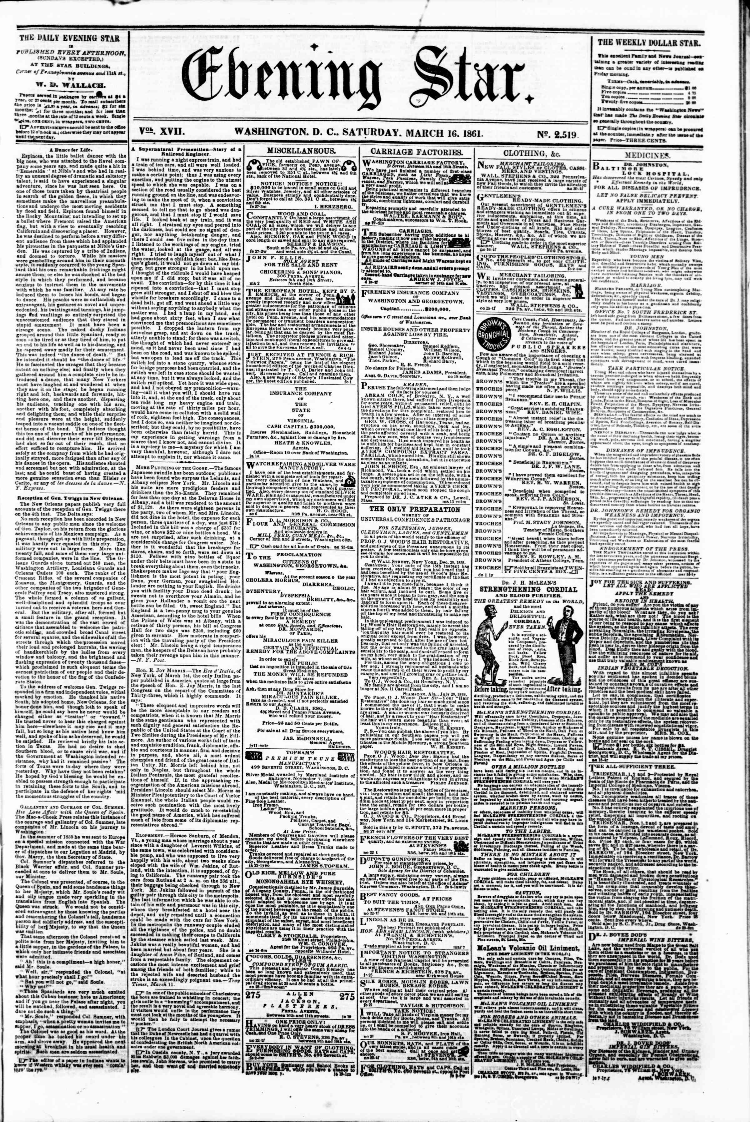 Newspaper of Evening Star dated March 16, 1861 Page 1