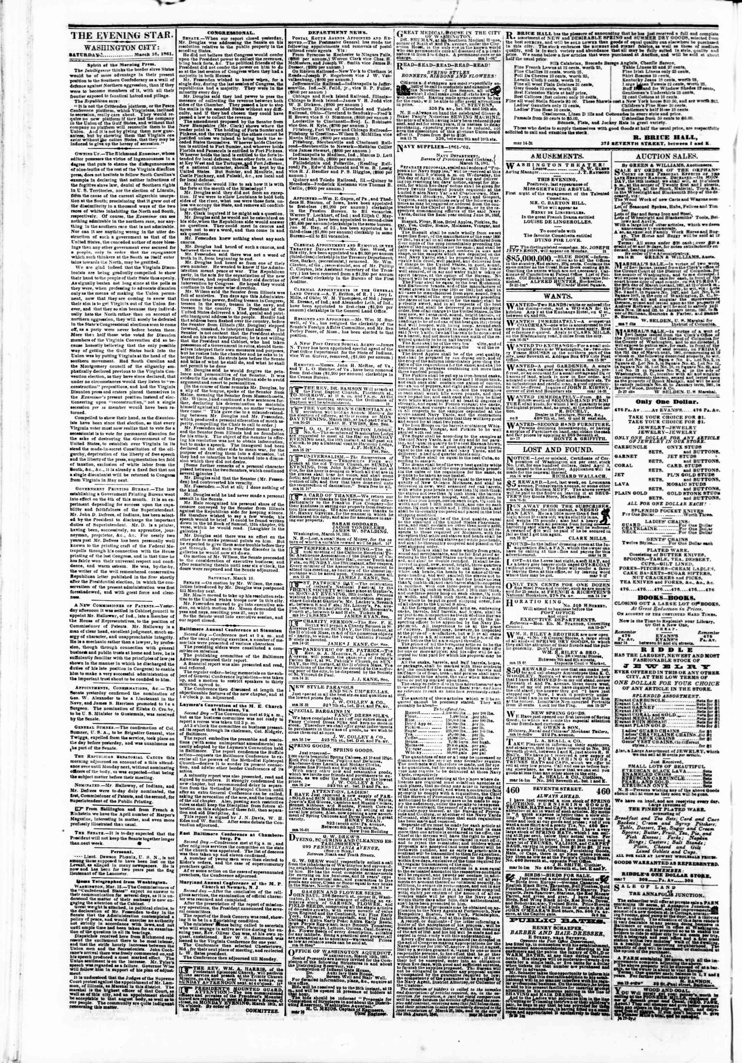 Newspaper of Evening Star dated March 16, 1861 Page 2