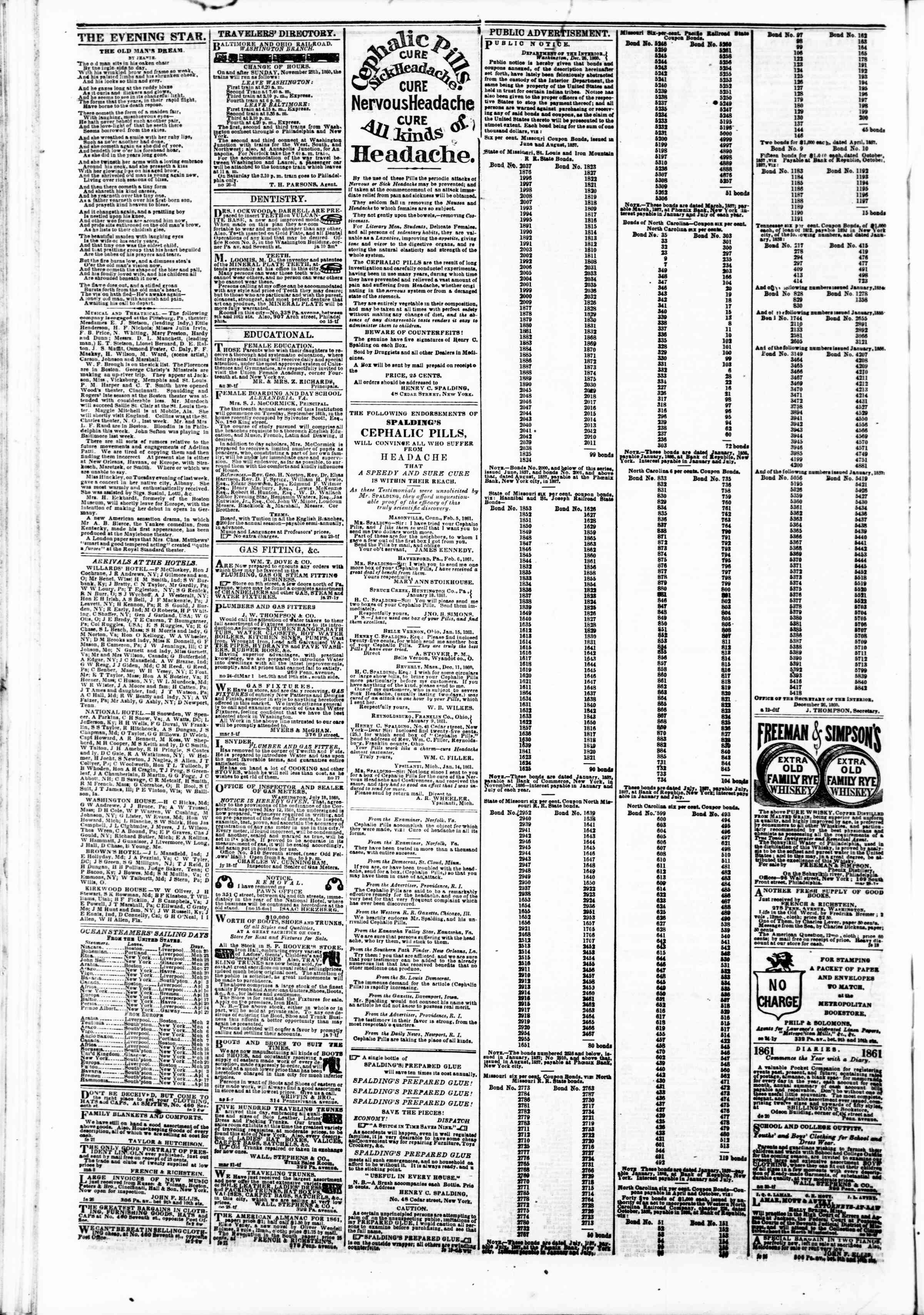 Newspaper of Evening Star dated March 16, 1861 Page 4