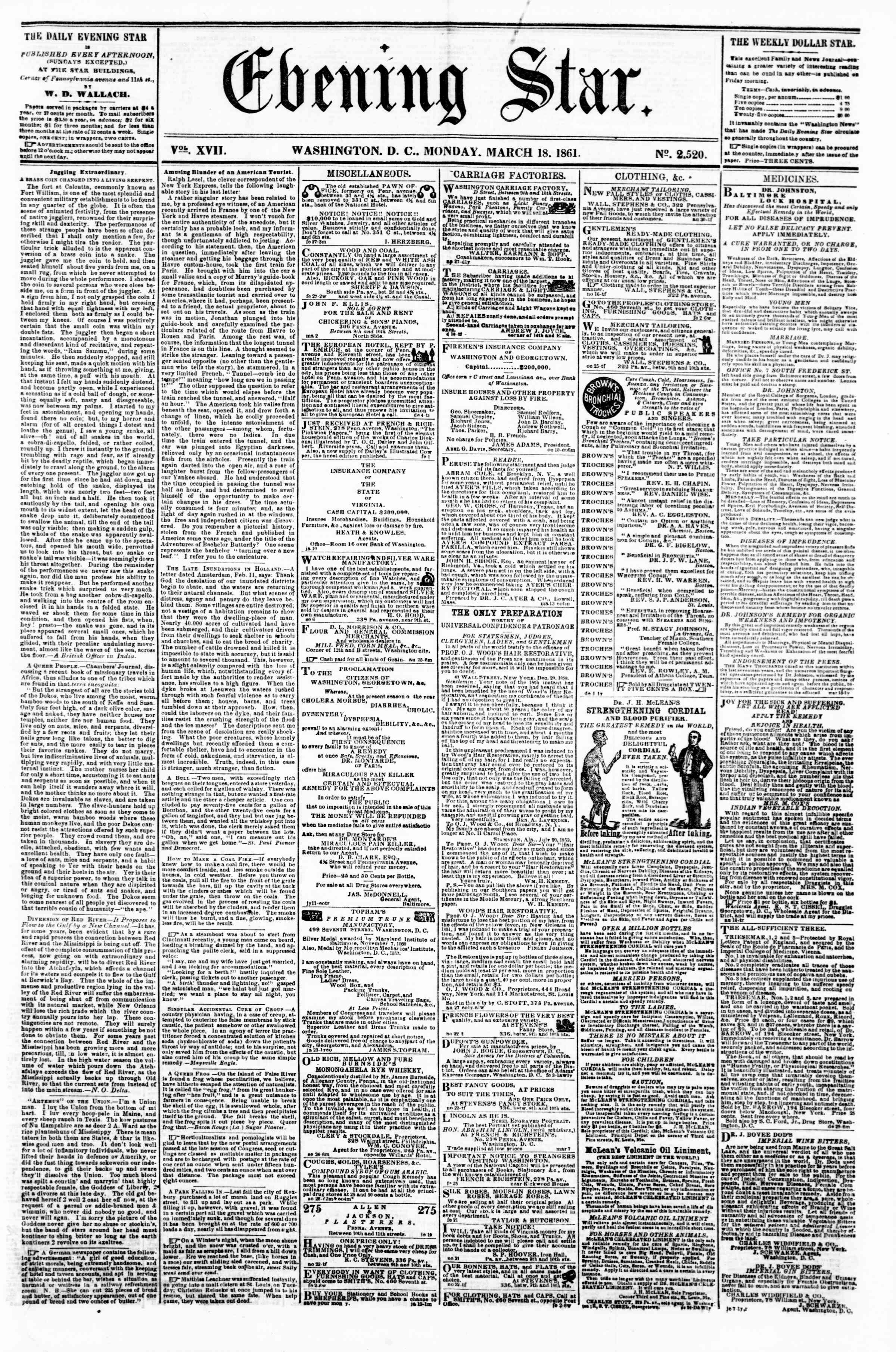 Newspaper of Evening Star dated March 18, 1861 Page 1