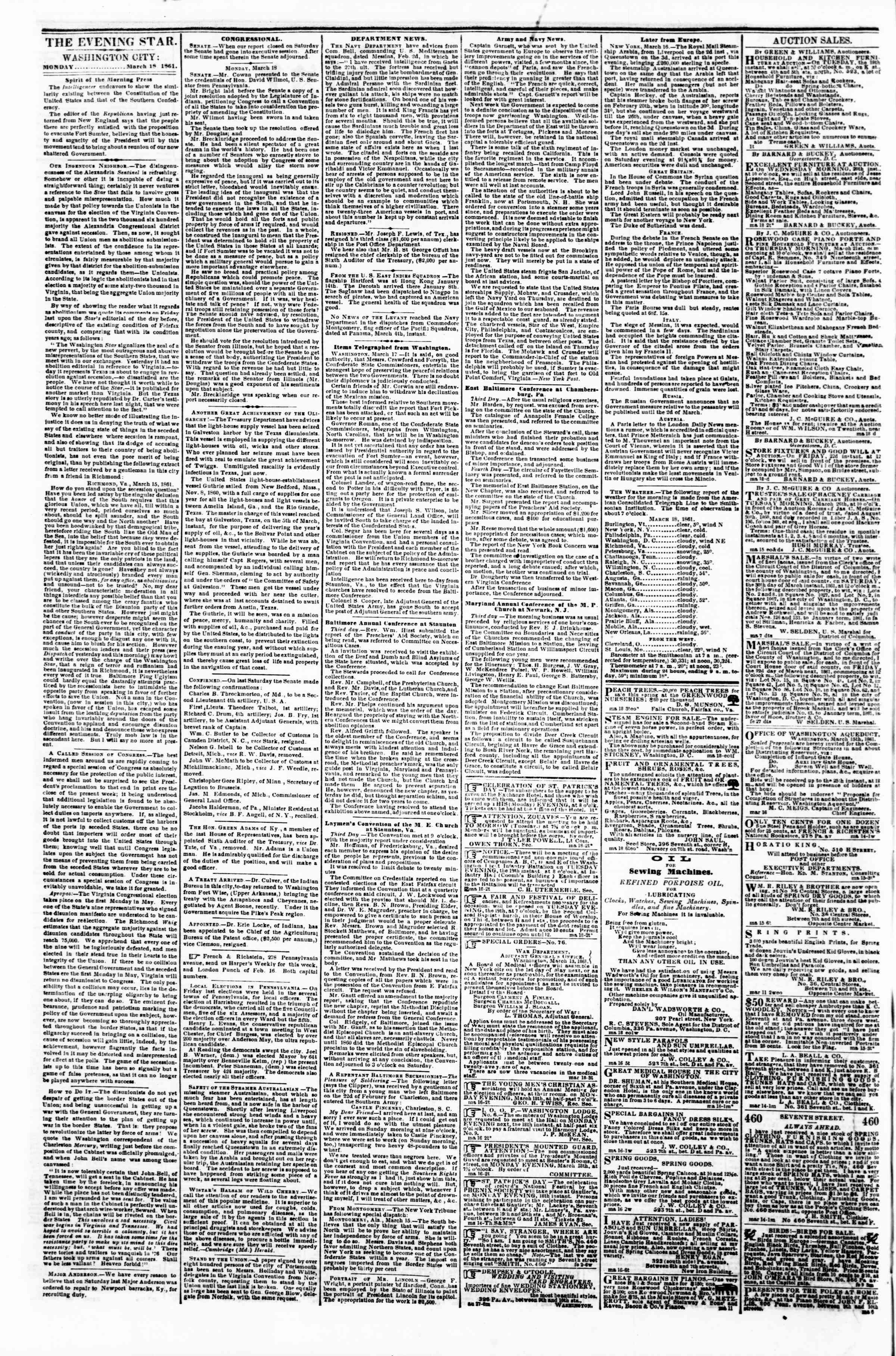 Newspaper of Evening Star dated March 18, 1861 Page 2