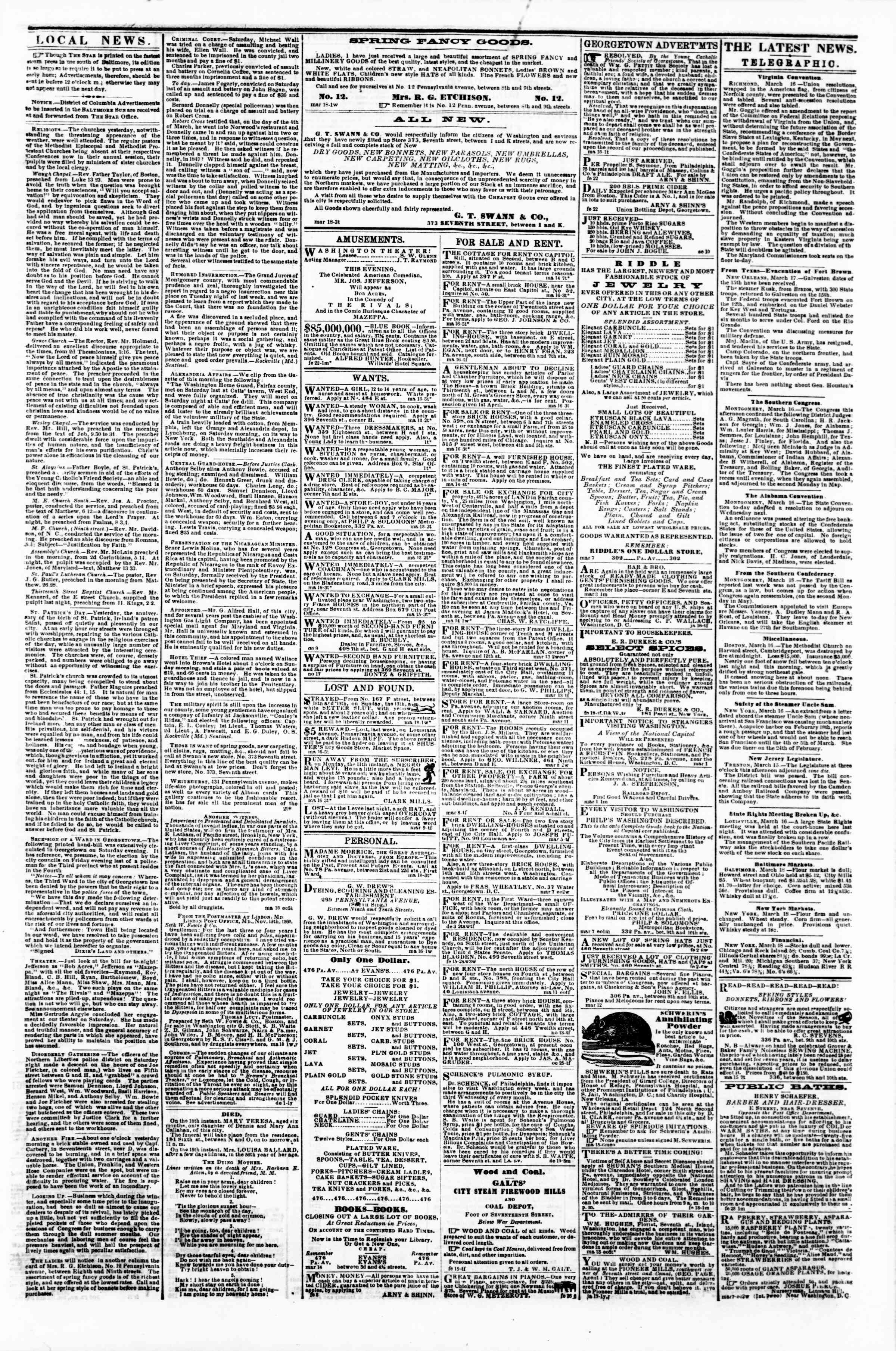 Newspaper of Evening Star dated March 18, 1861 Page 3