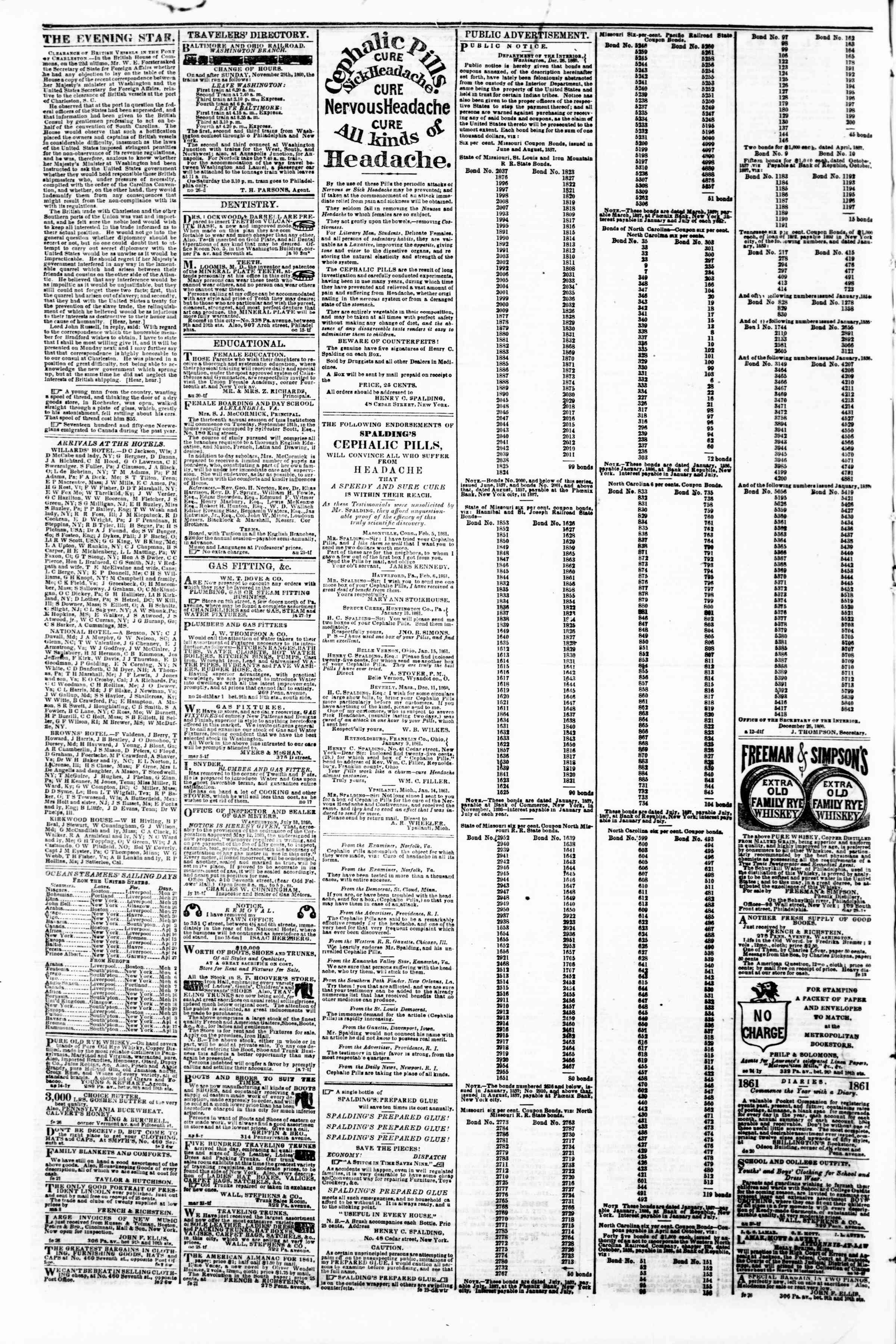 Newspaper of Evening Star dated 18 Mart 1861 Page 4