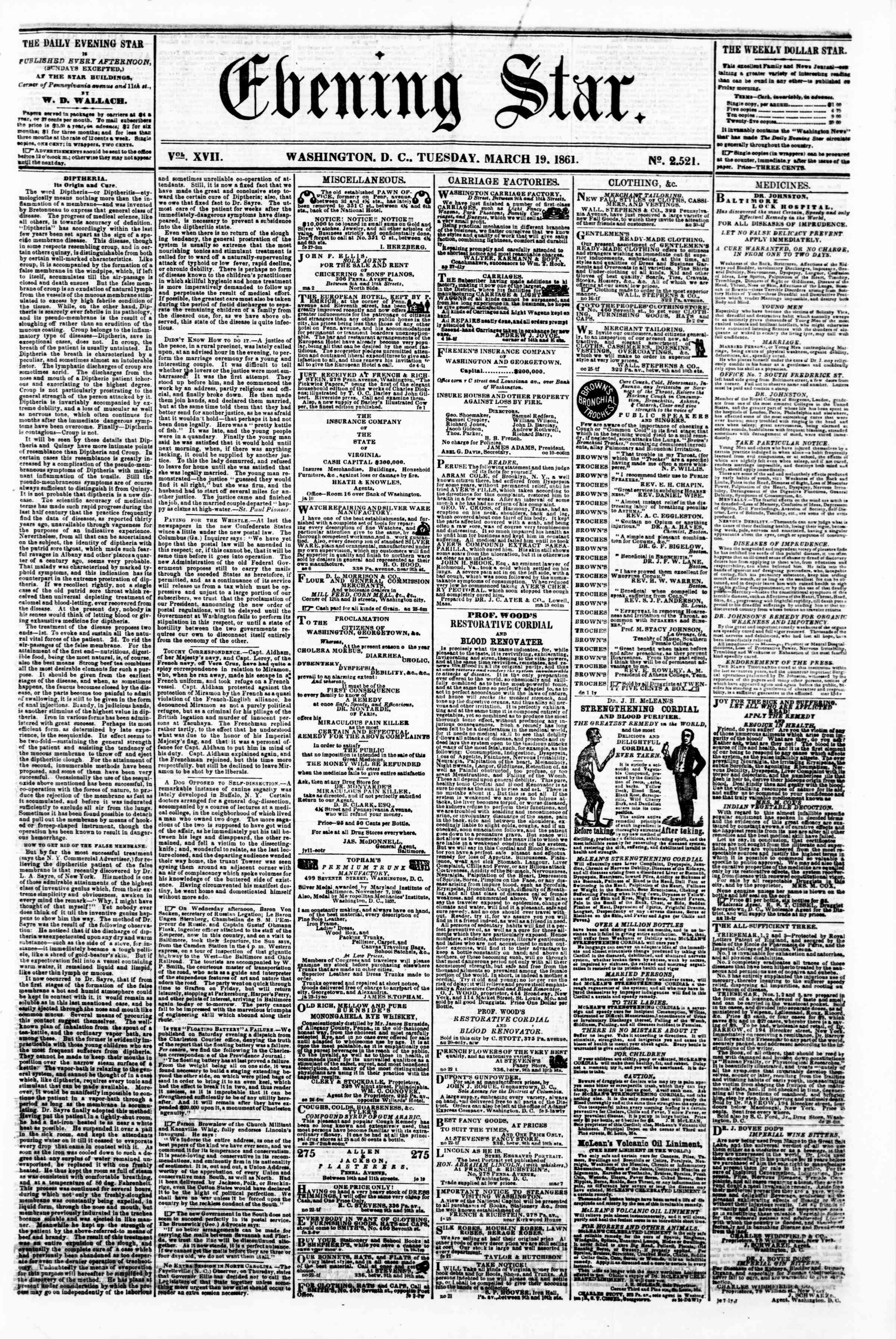 Newspaper of Evening Star dated March 19, 1861 Page 1