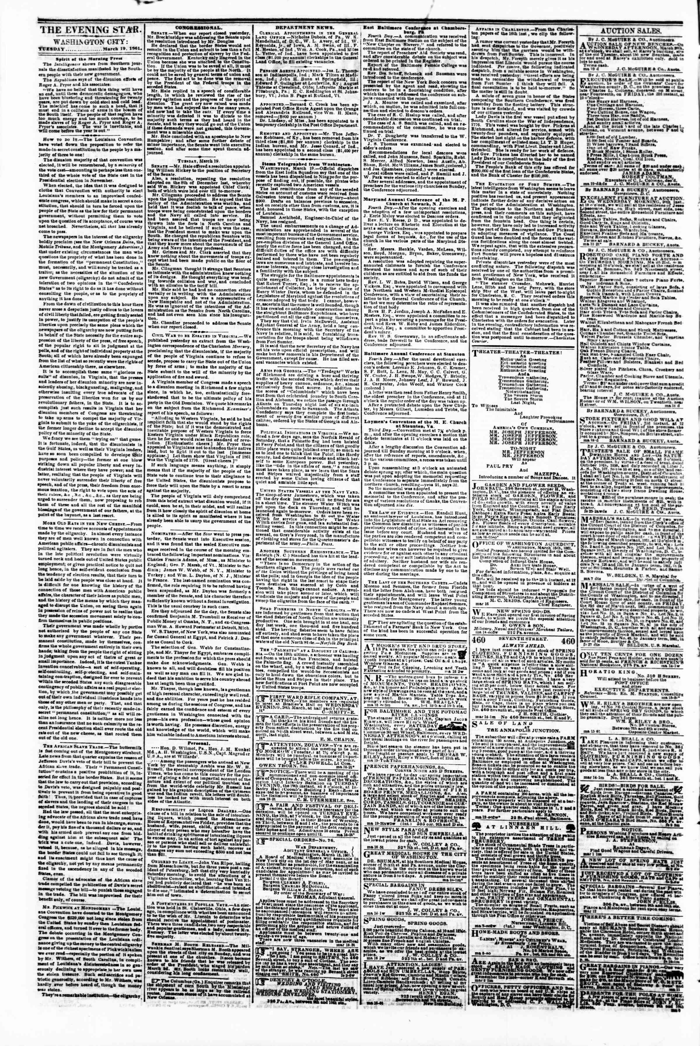 Newspaper of Evening Star dated March 19, 1861 Page 2