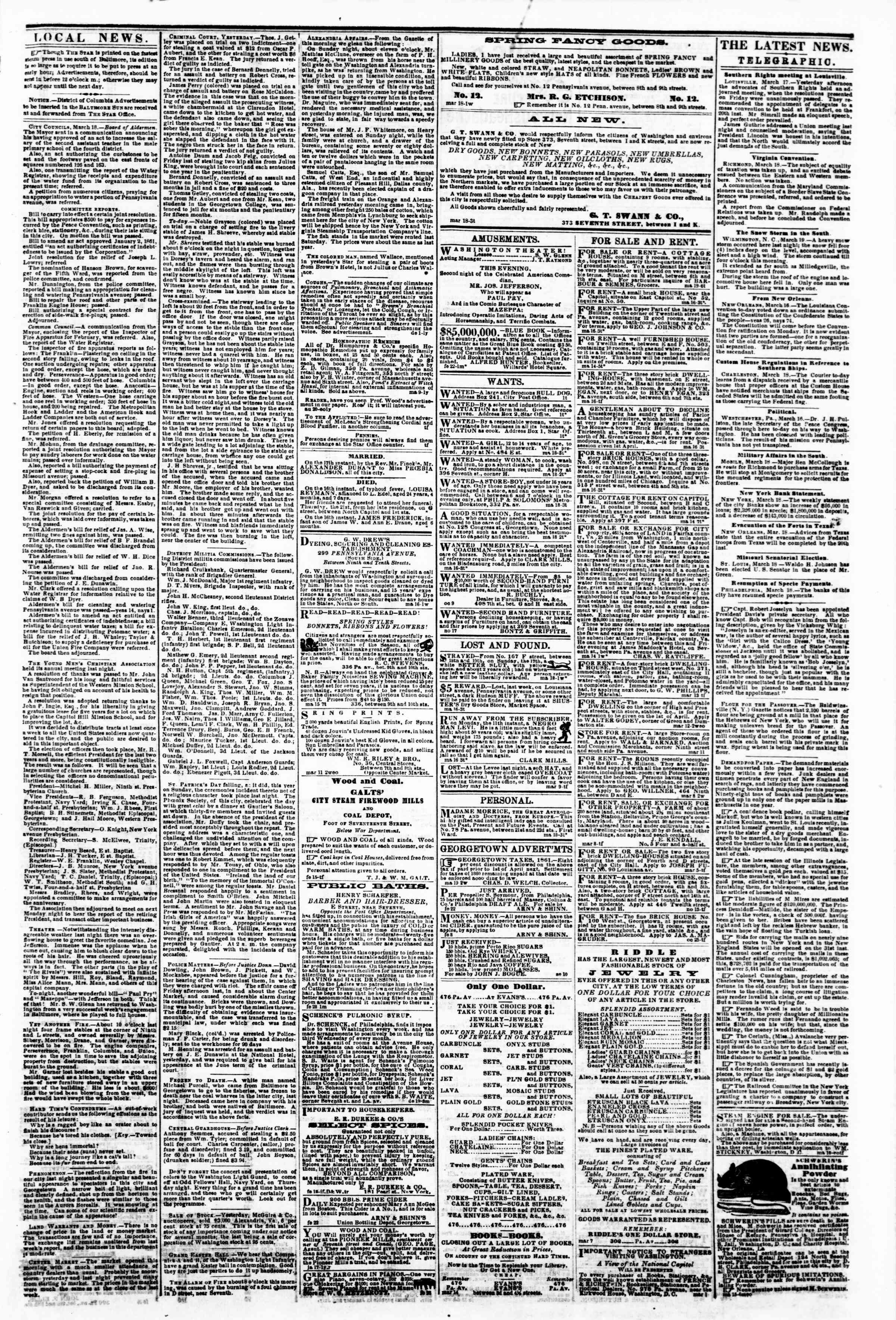 Newspaper of Evening Star dated March 19, 1861 Page 3