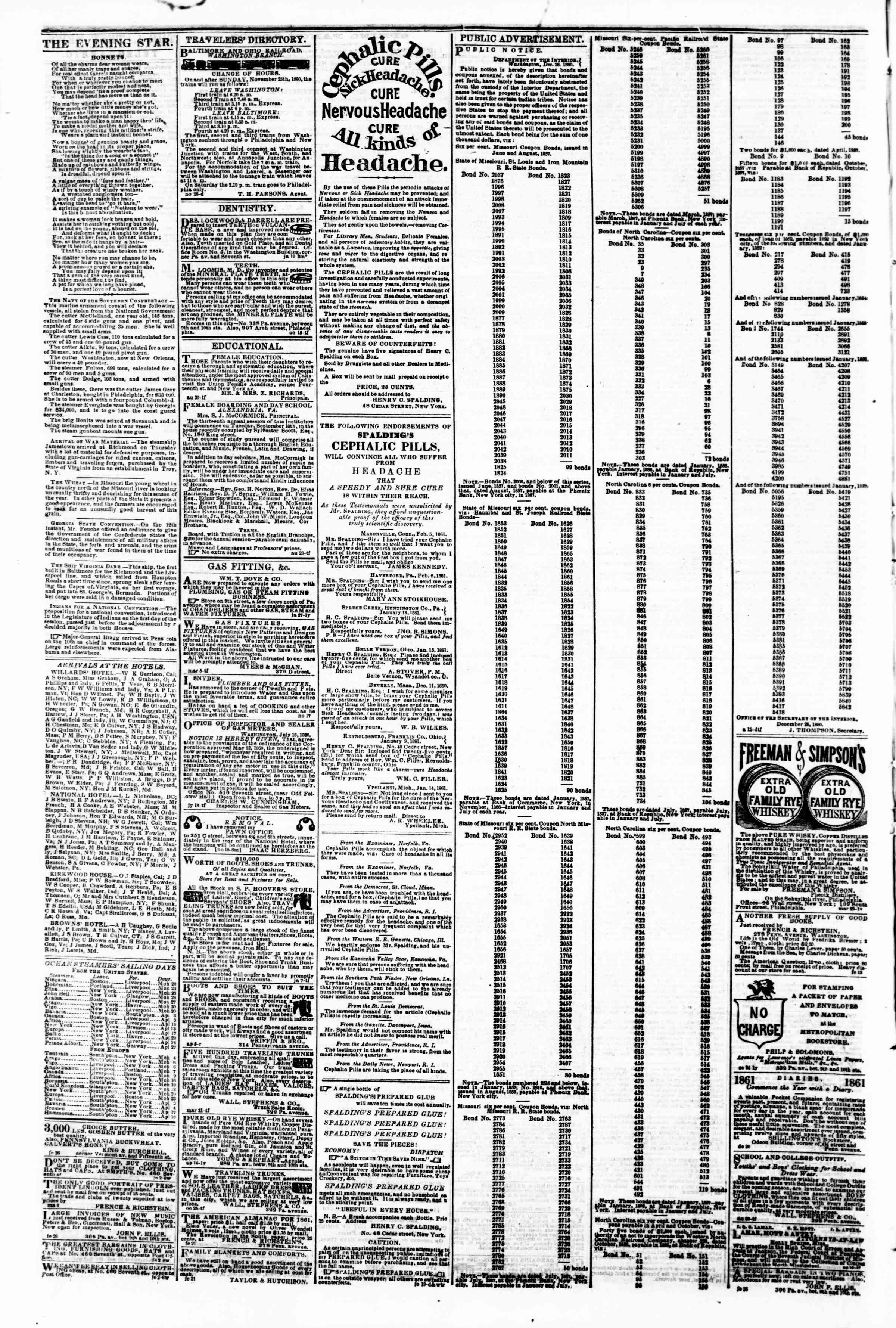 Newspaper of Evening Star dated March 19, 1861 Page 4