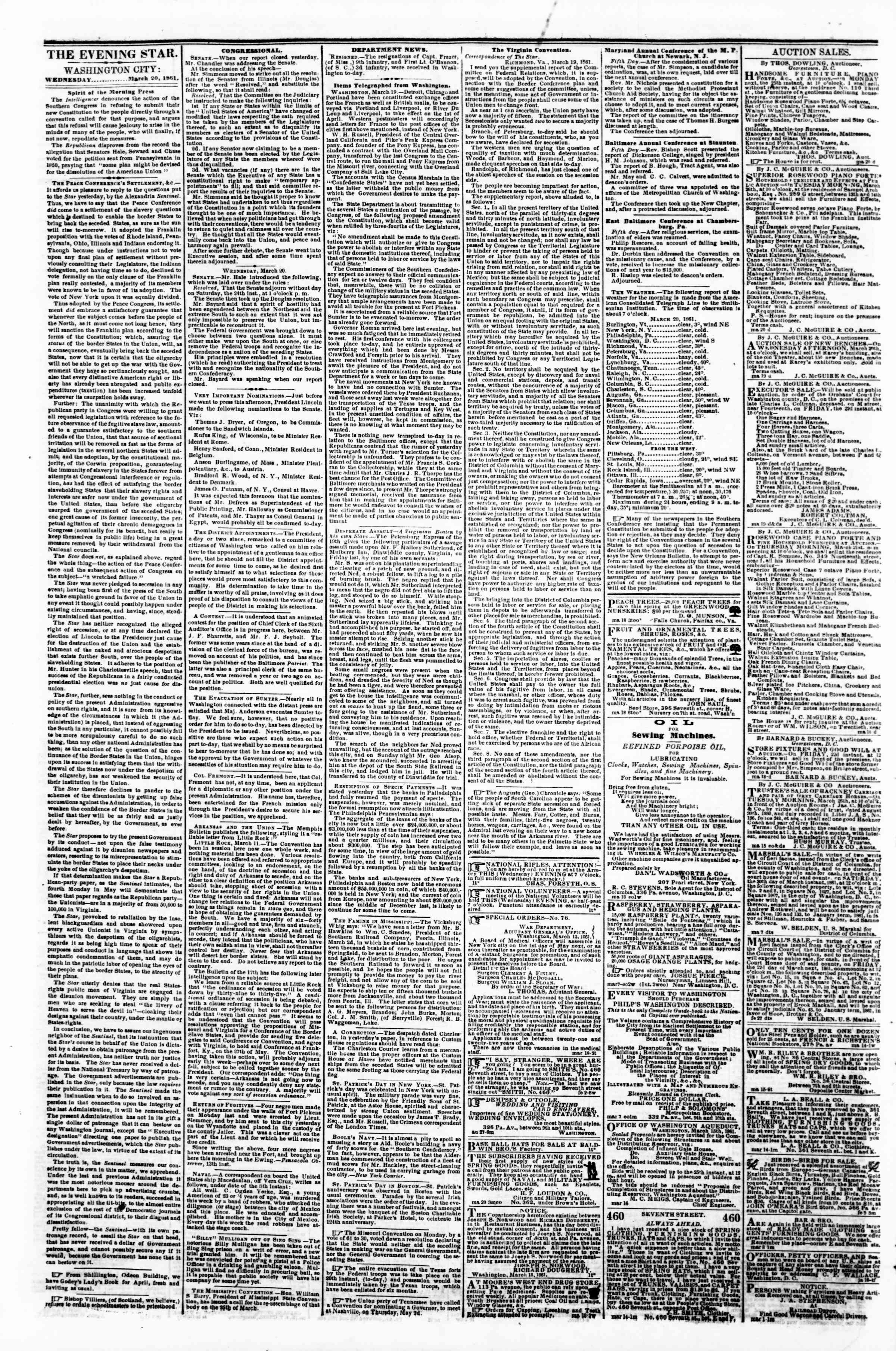 Newspaper of Evening Star dated March 20, 1861 Page 2