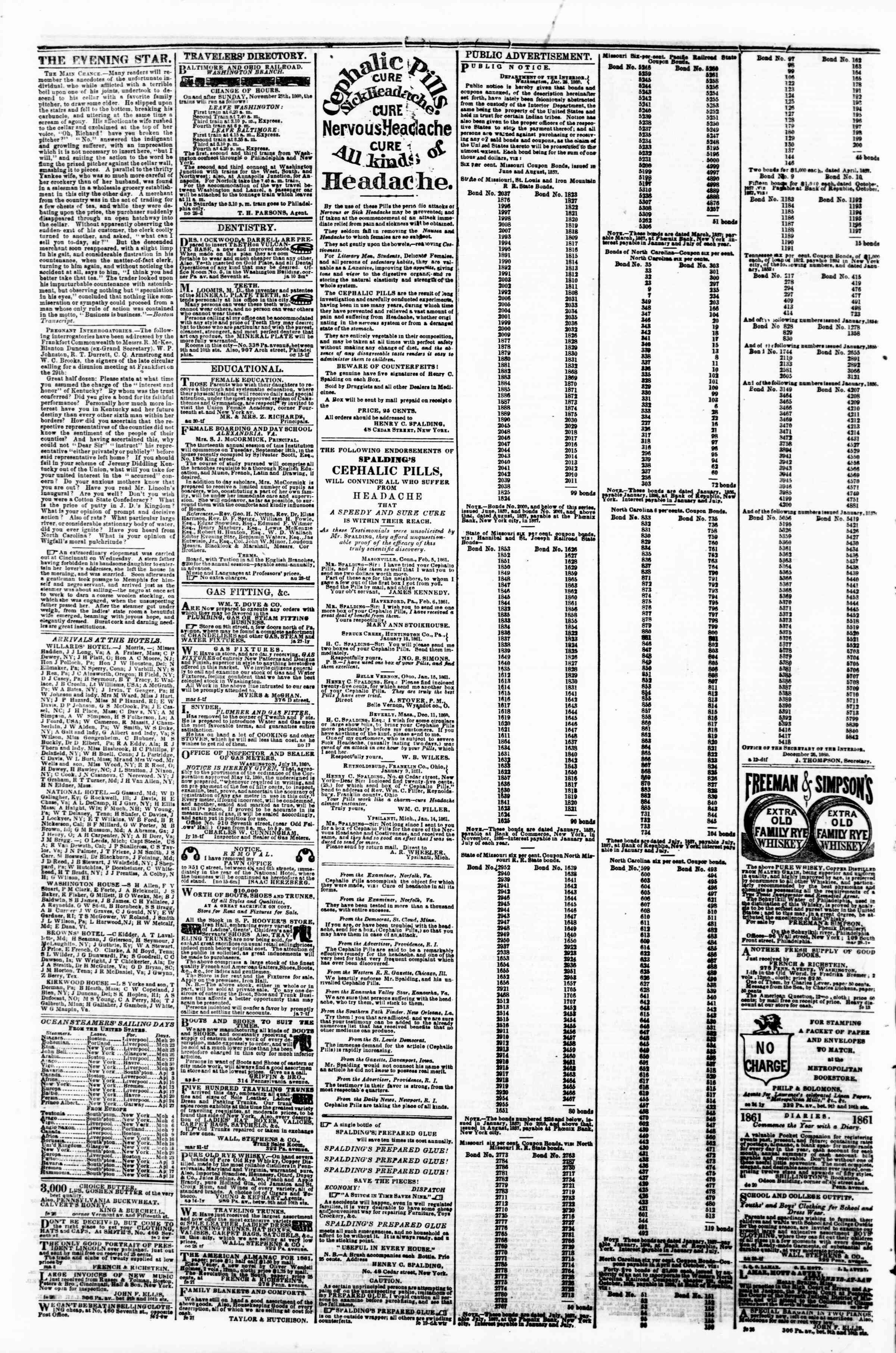Newspaper of Evening Star dated March 20, 1861 Page 4