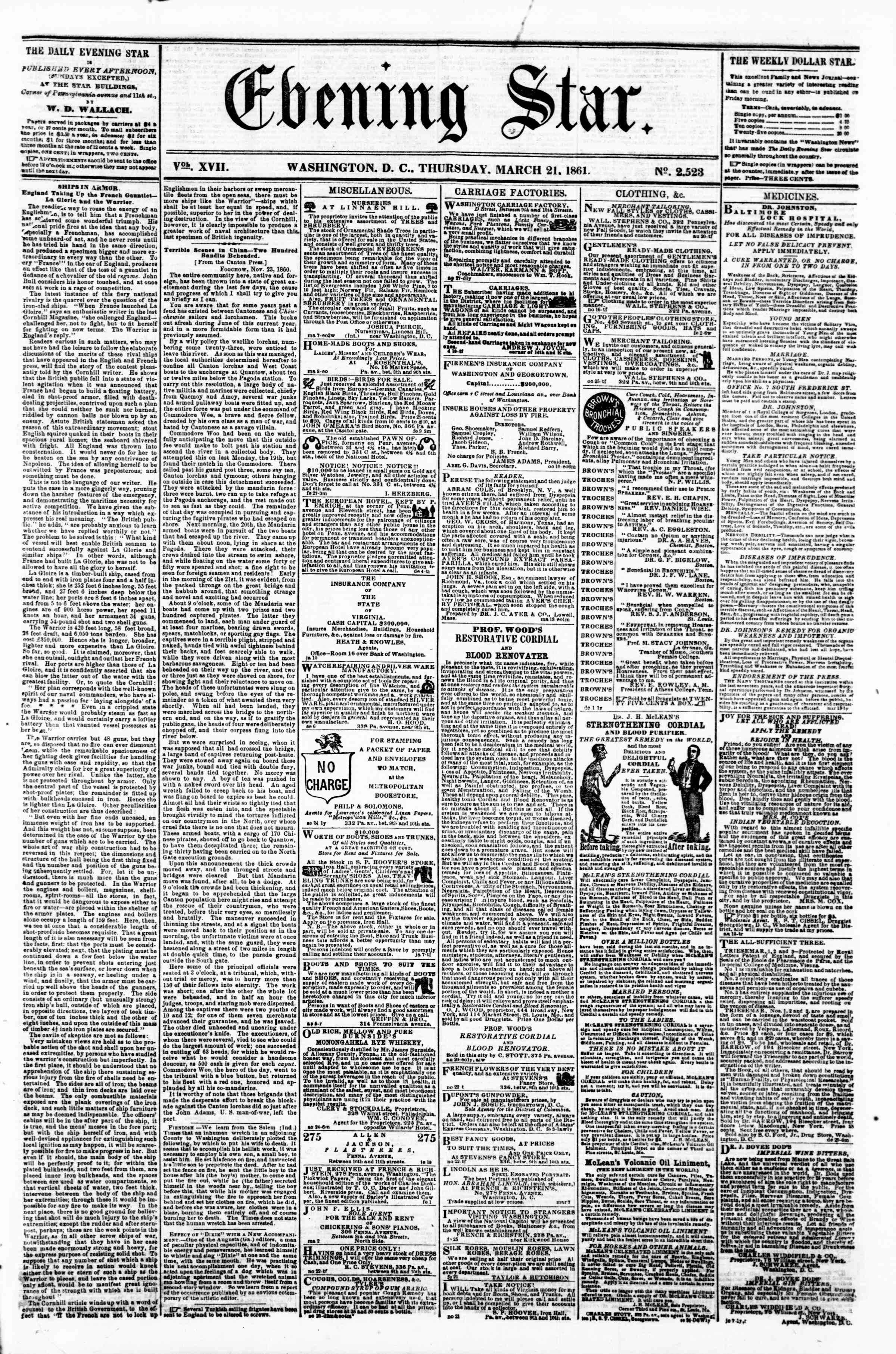 Newspaper of Evening Star dated March 21, 1861 Page 1