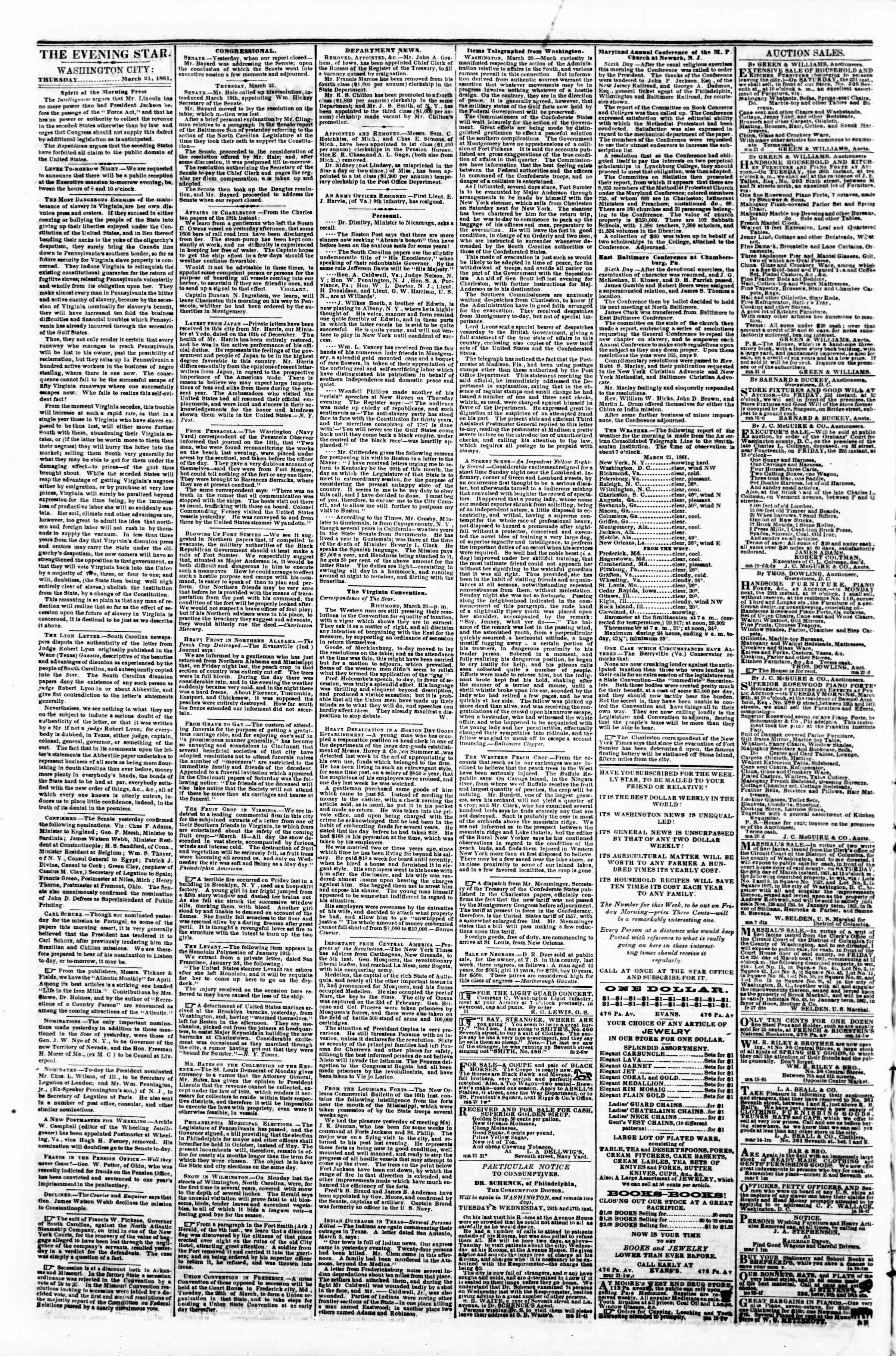 Newspaper of Evening Star dated March 21, 1861 Page 2