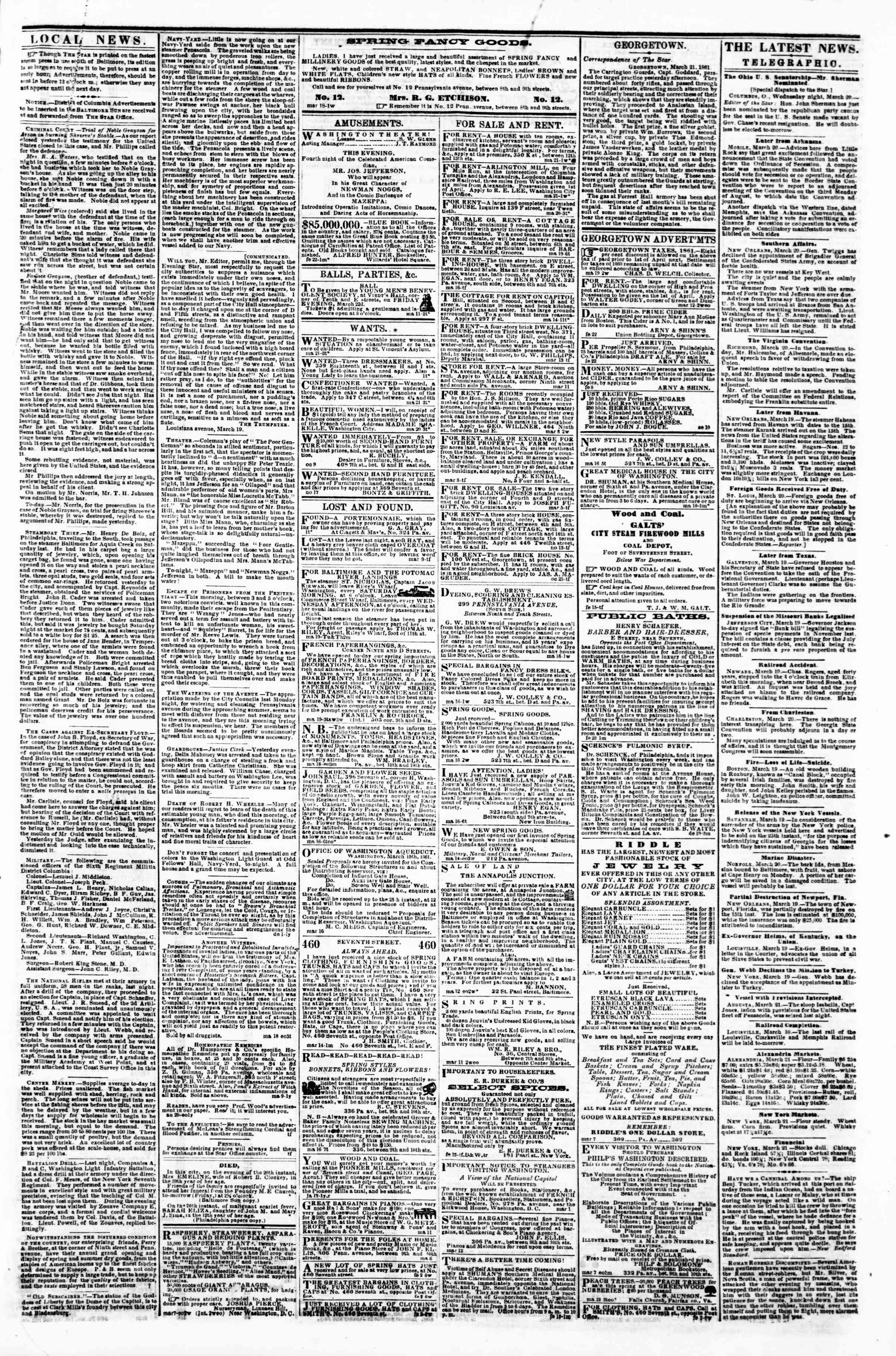 Newspaper of Evening Star dated March 21, 1861 Page 3