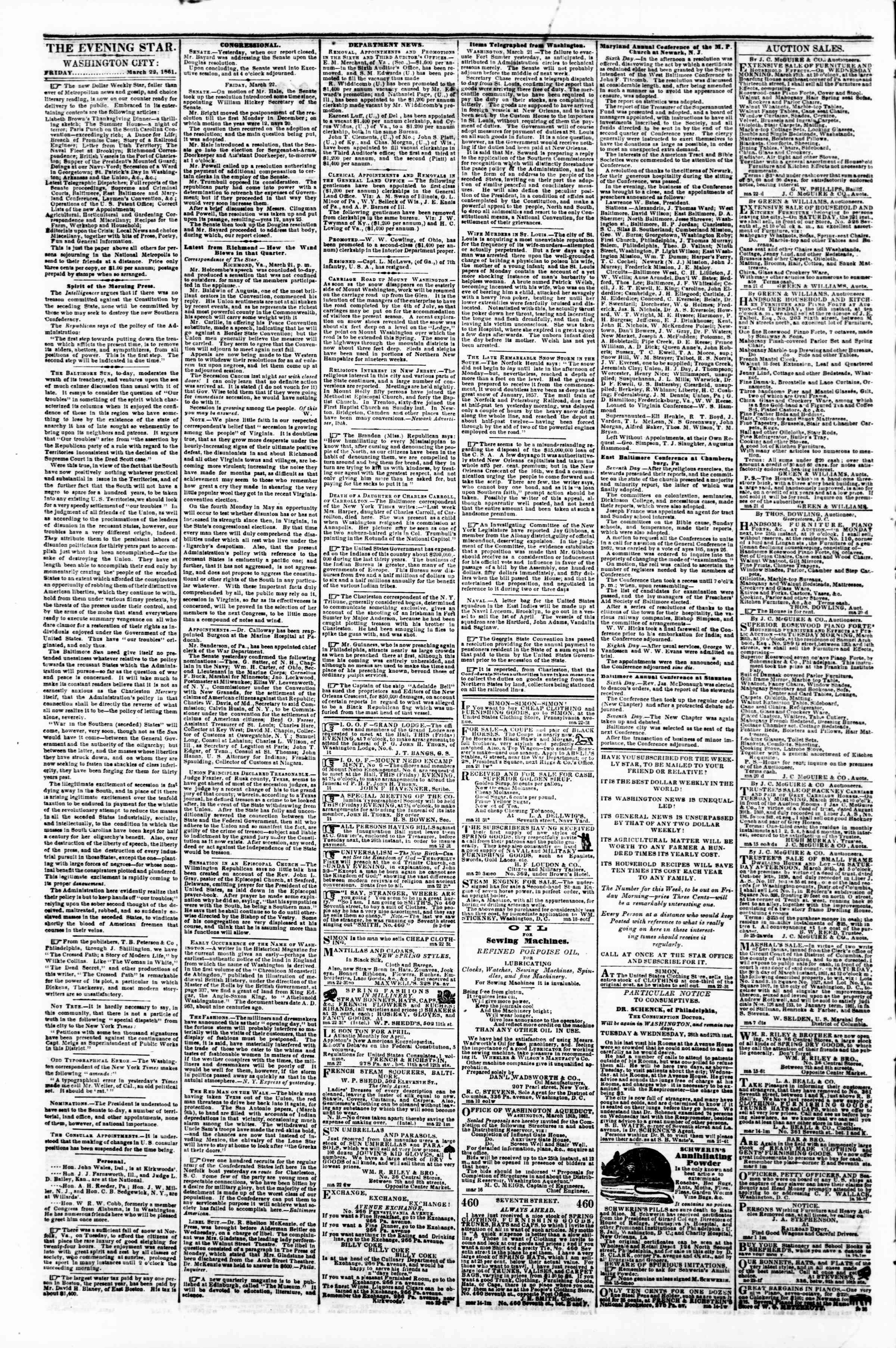 Newspaper of Evening Star dated March 22, 1861 Page 2