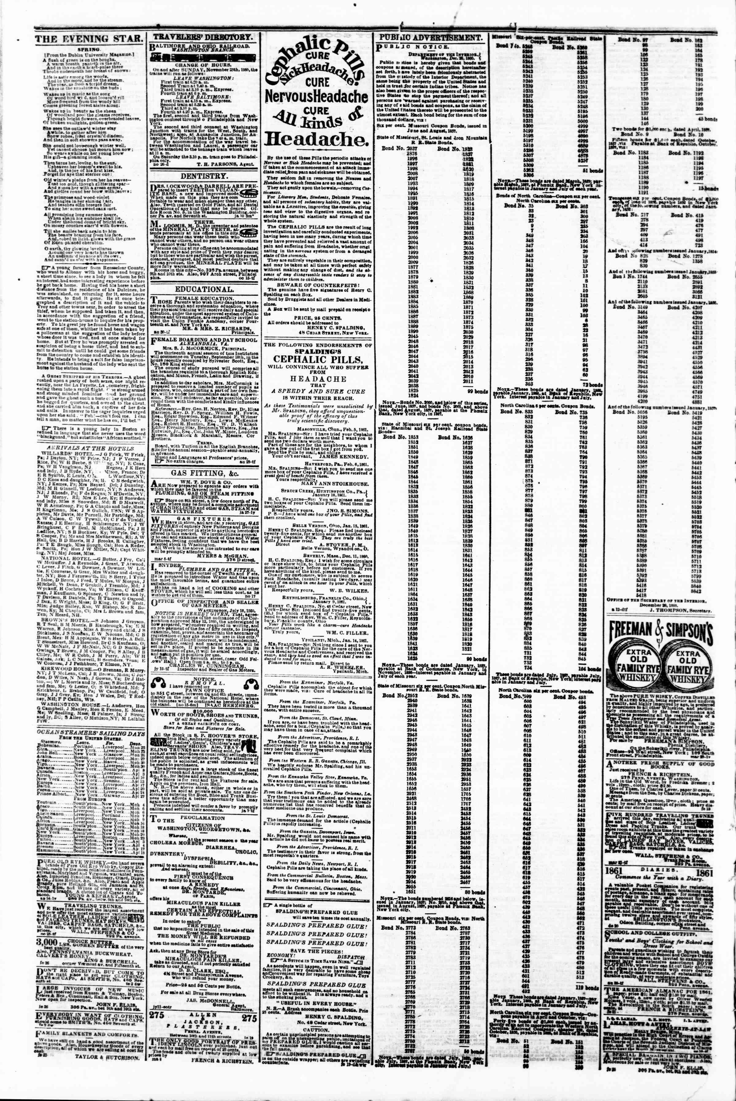 Newspaper of Evening Star dated March 22, 1861 Page 4