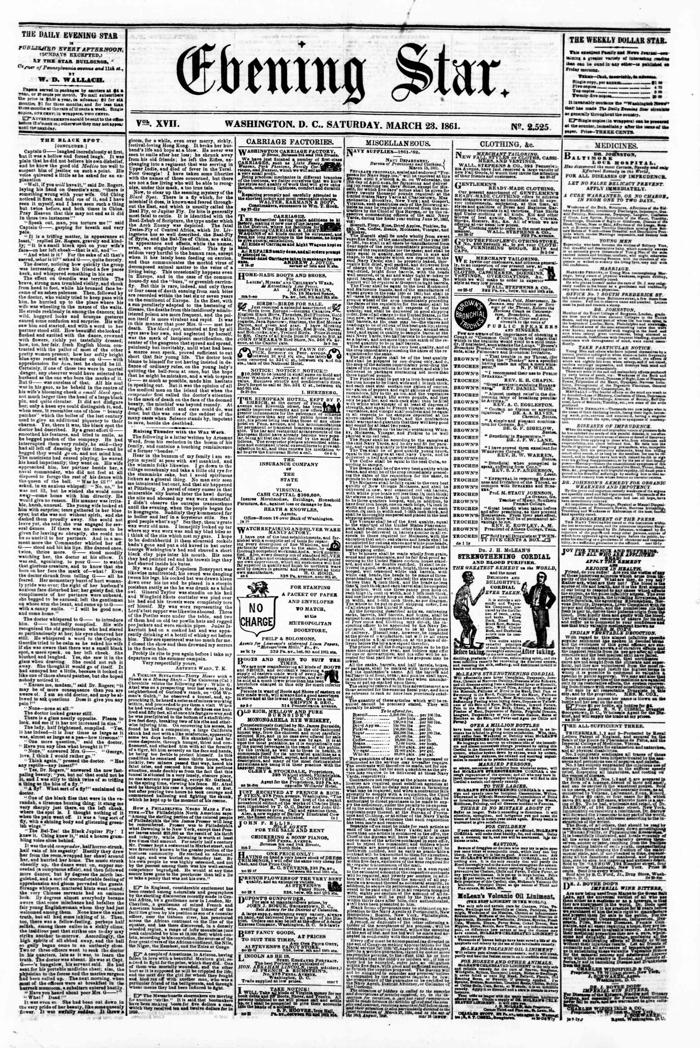Newspaper of Evening Star dated March 23, 1861 Page 1