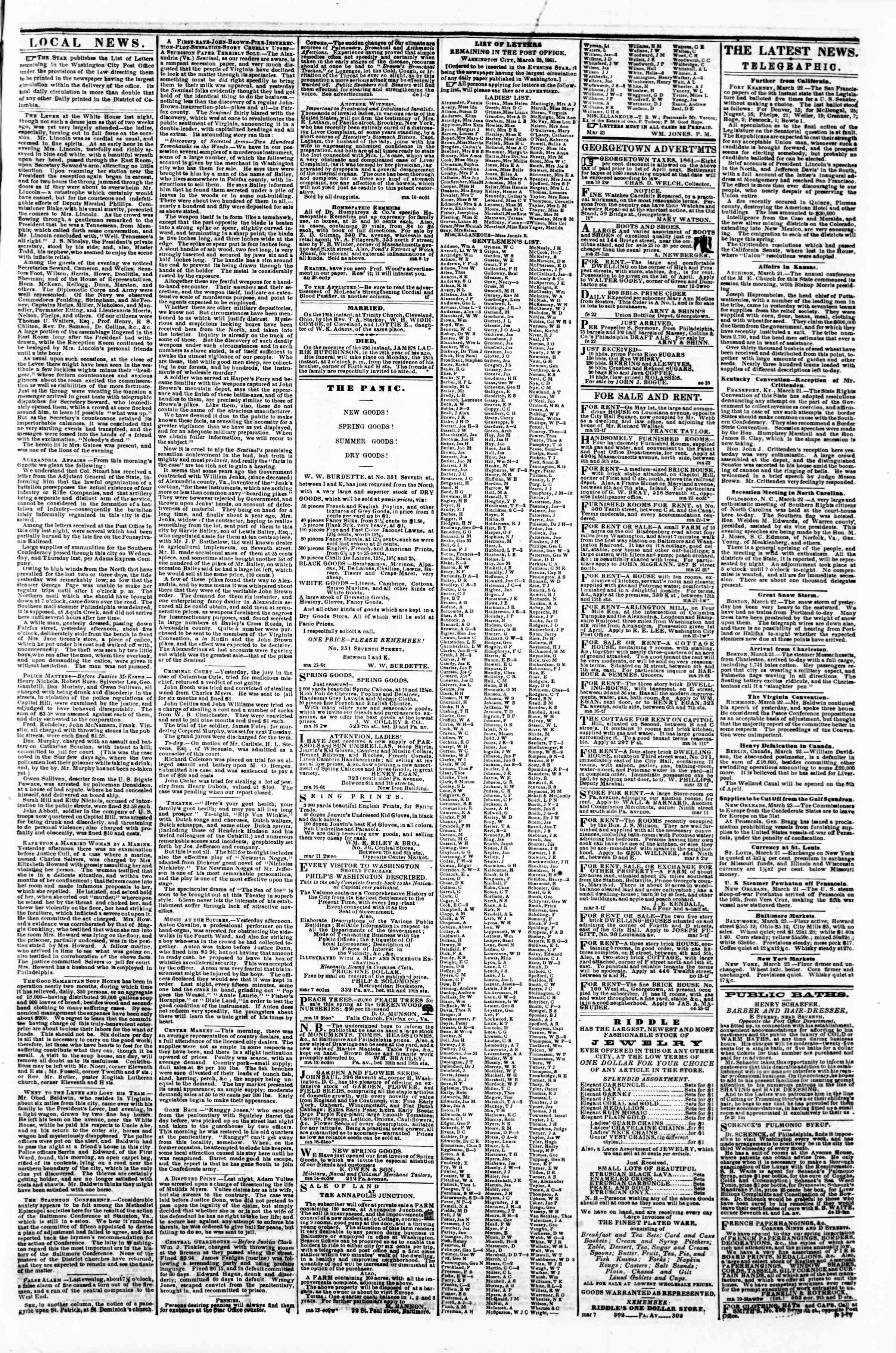 Newspaper of Evening Star dated March 23, 1861 Page 3