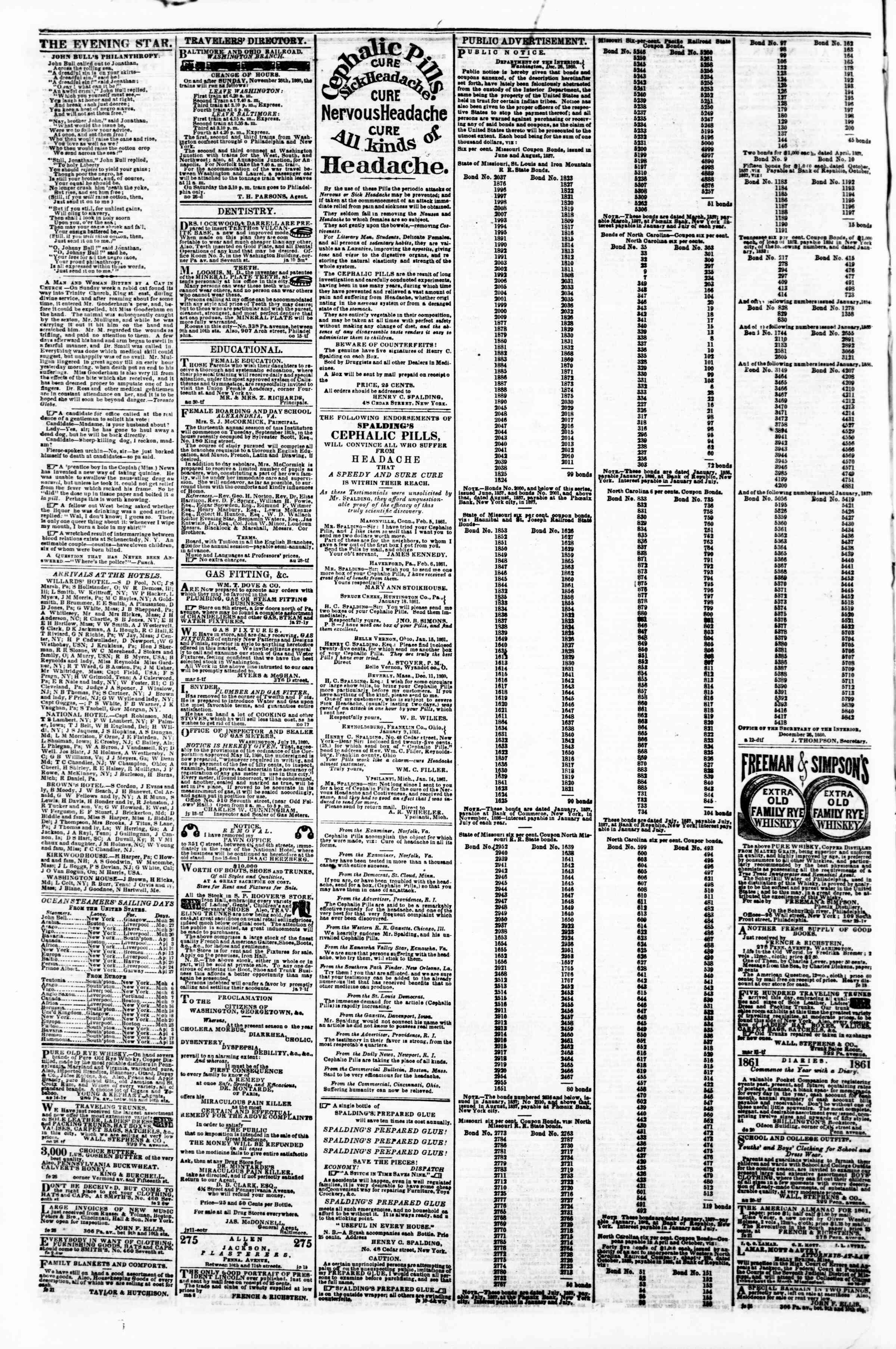 Newspaper of Evening Star dated March 23, 1861 Page 4