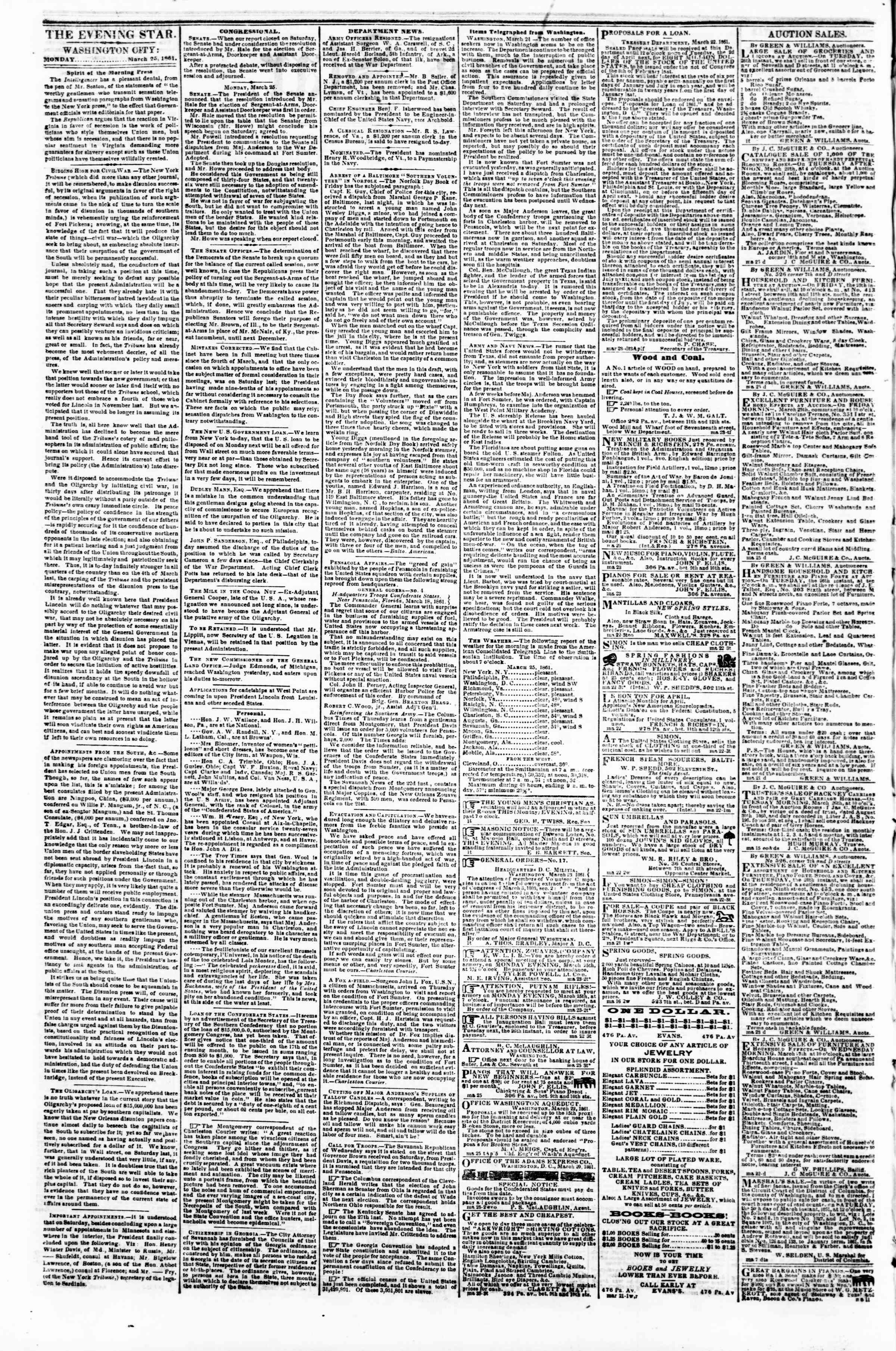 Newspaper of Evening Star dated March 25, 1861 Page 2