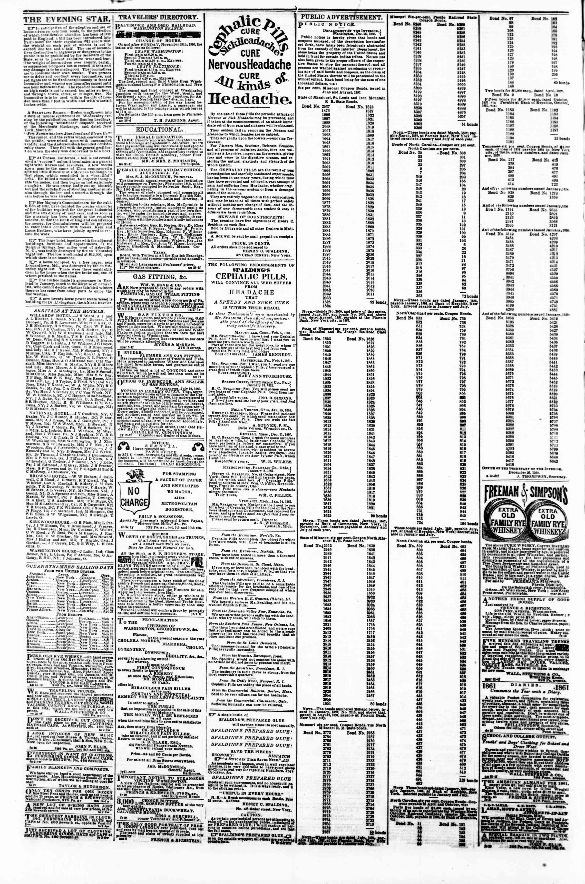 Newspaper of Evening Star dated March 25, 1861 Page 4