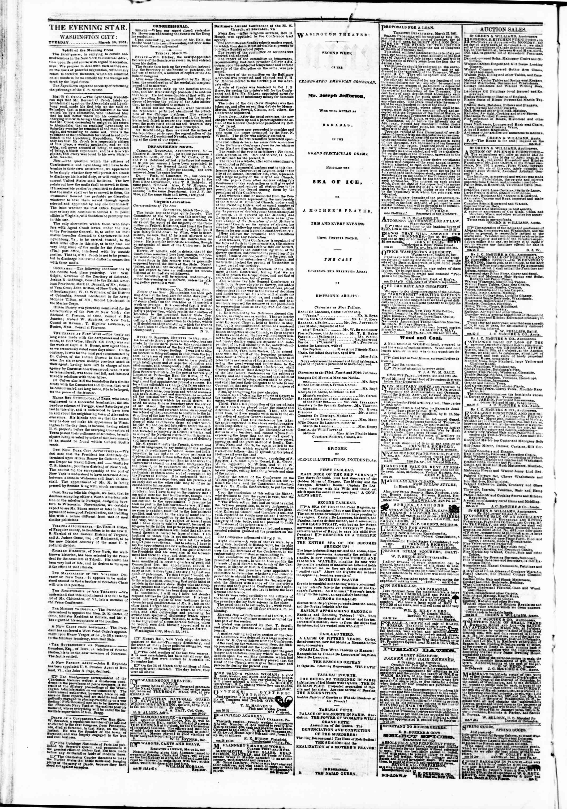 Newspaper of Evening Star dated March 26, 1861 Page 2