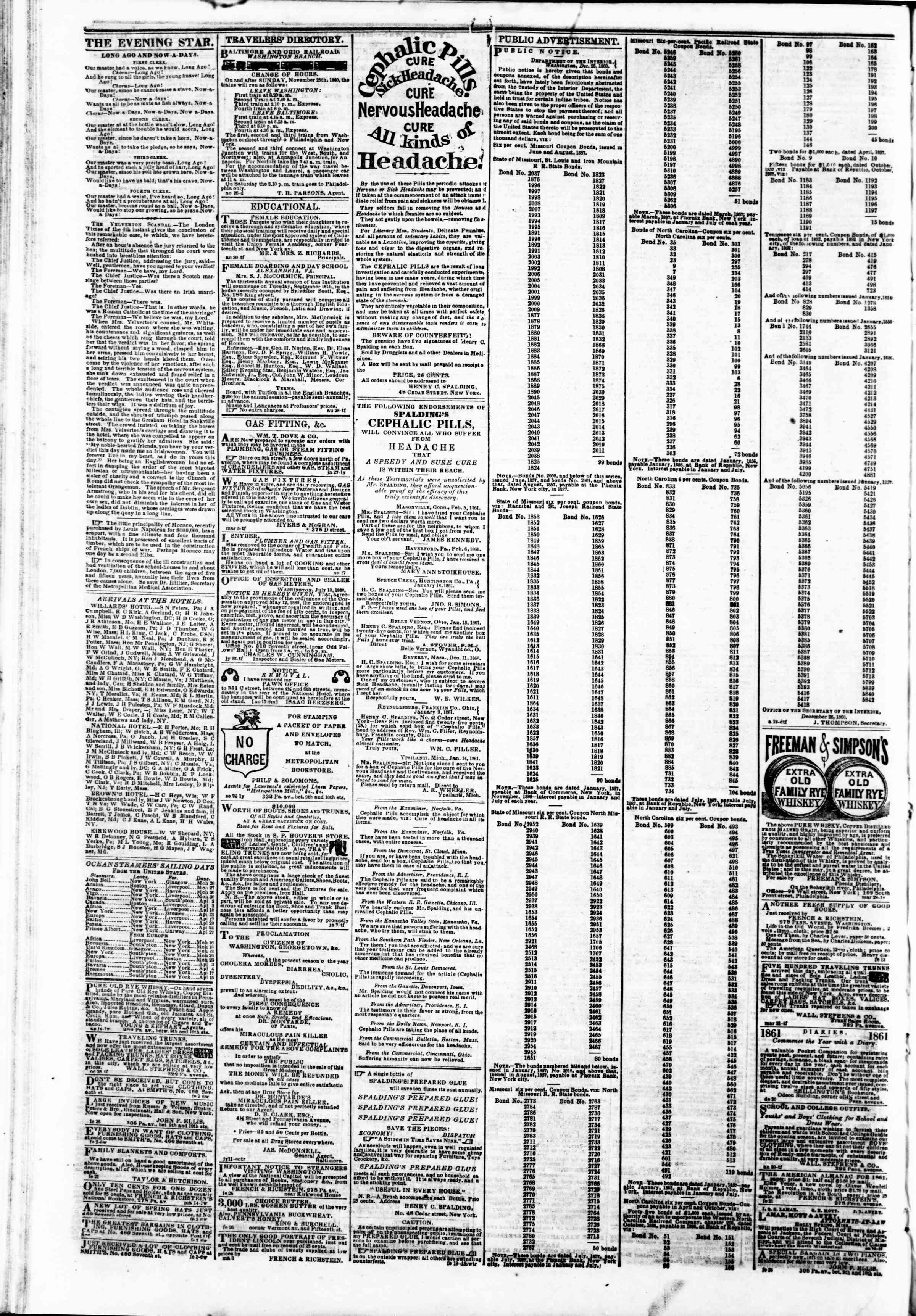 Newspaper of Evening Star dated March 26, 1861 Page 4