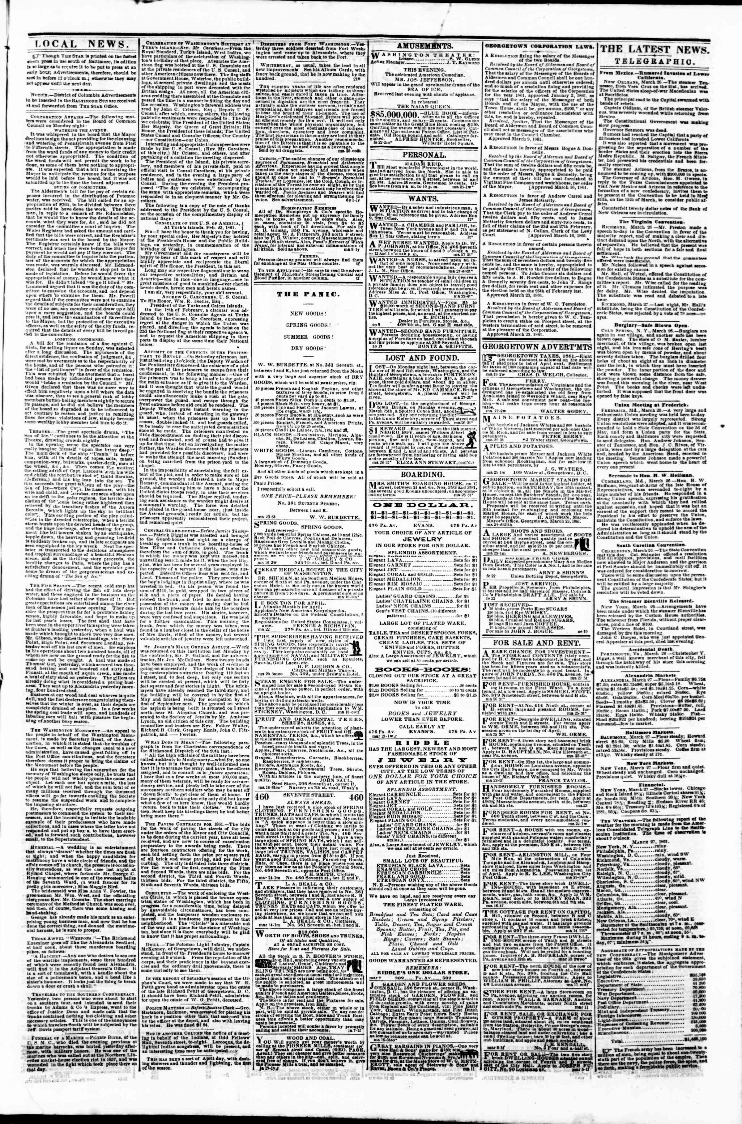 Newspaper of Evening Star dated March 27, 1861 Page 3