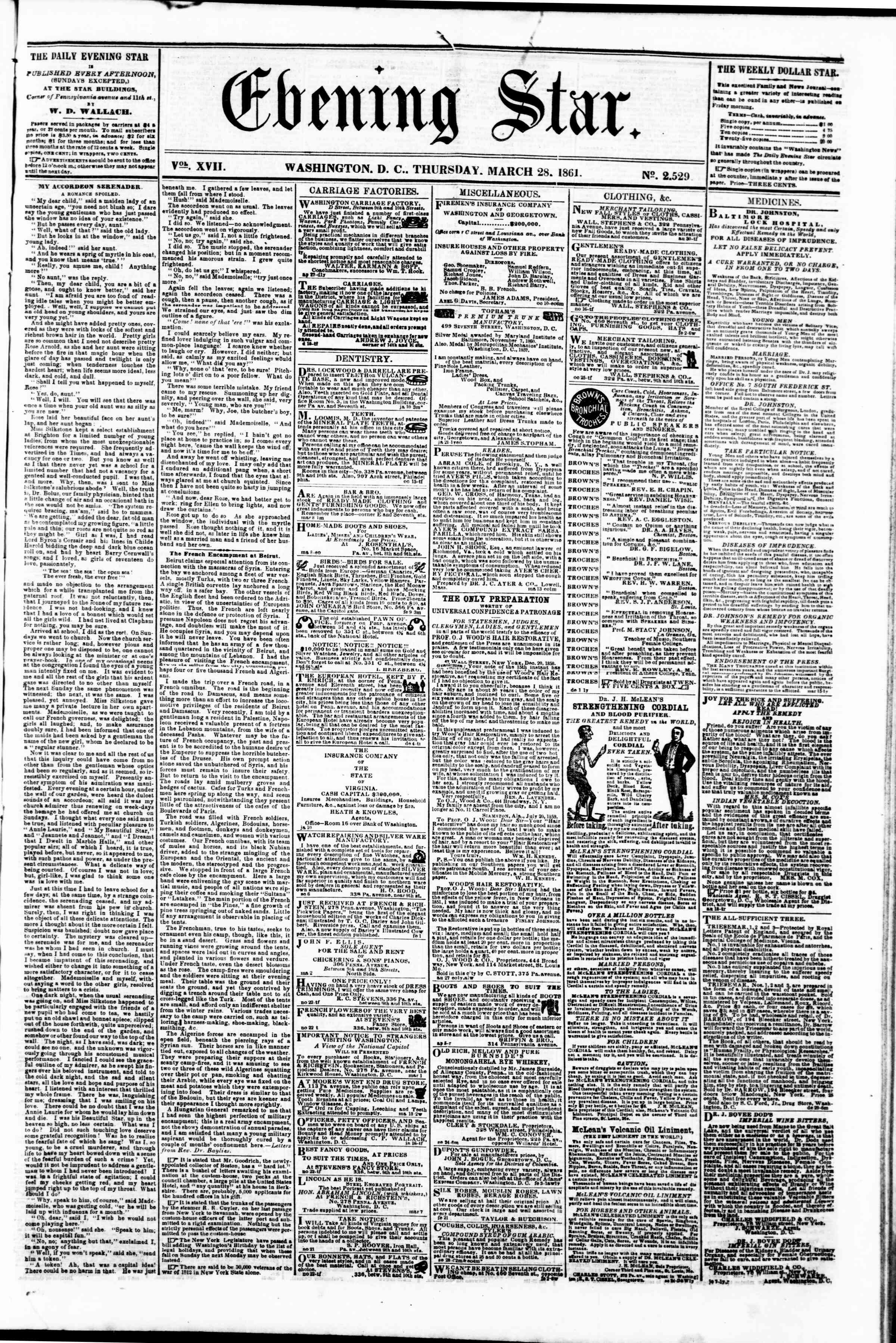Newspaper of Evening Star dated March 28, 1861 Page 1