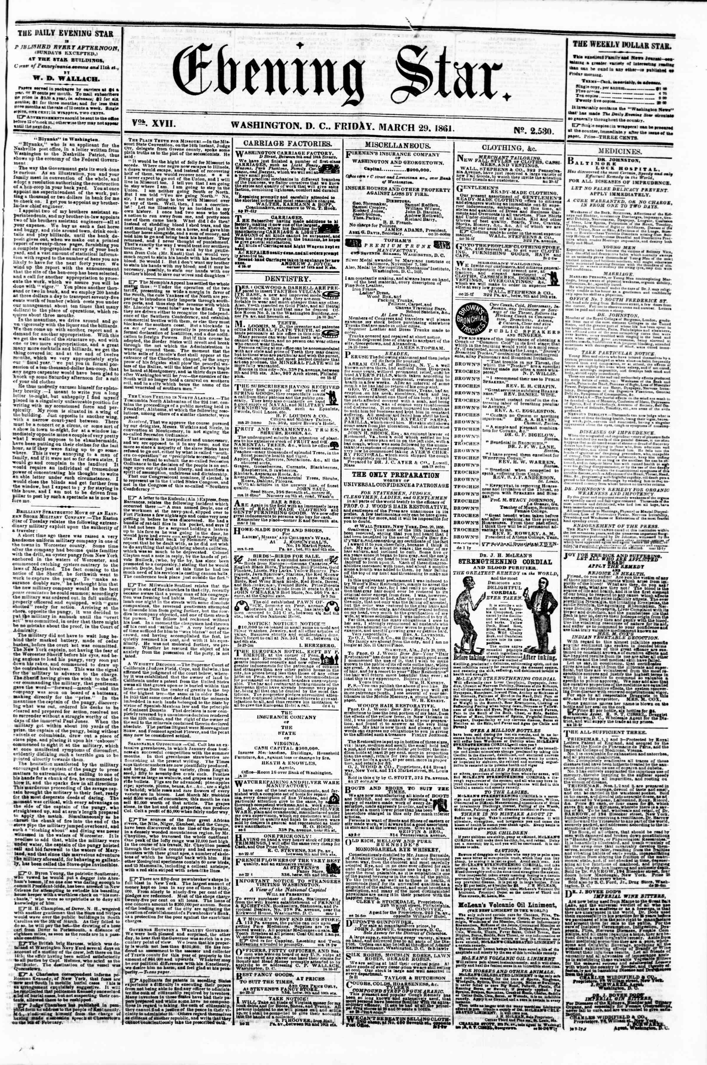 Newspaper of Evening Star dated March 29, 1861 Page 1