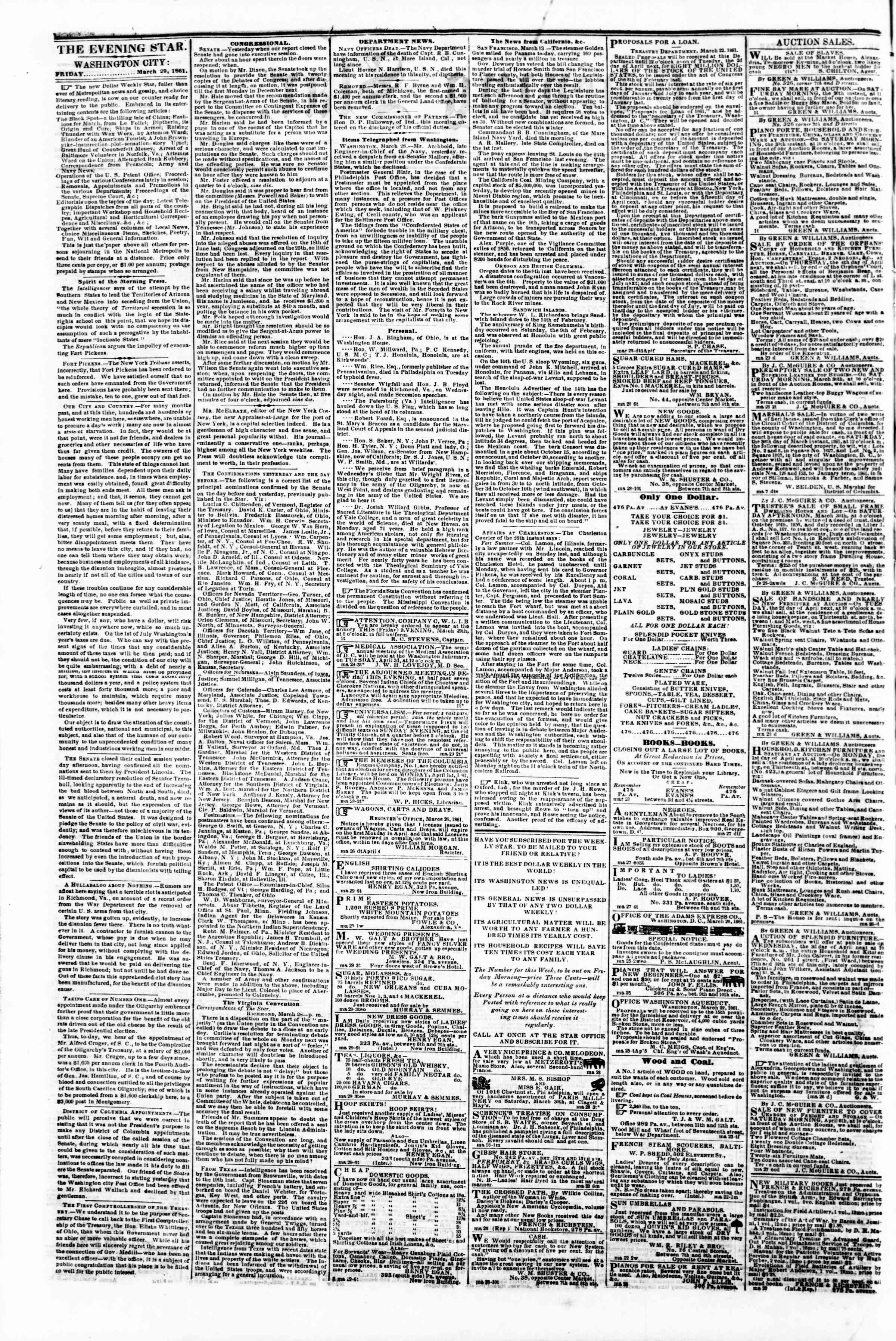 Newspaper of Evening Star dated March 29, 1861 Page 2