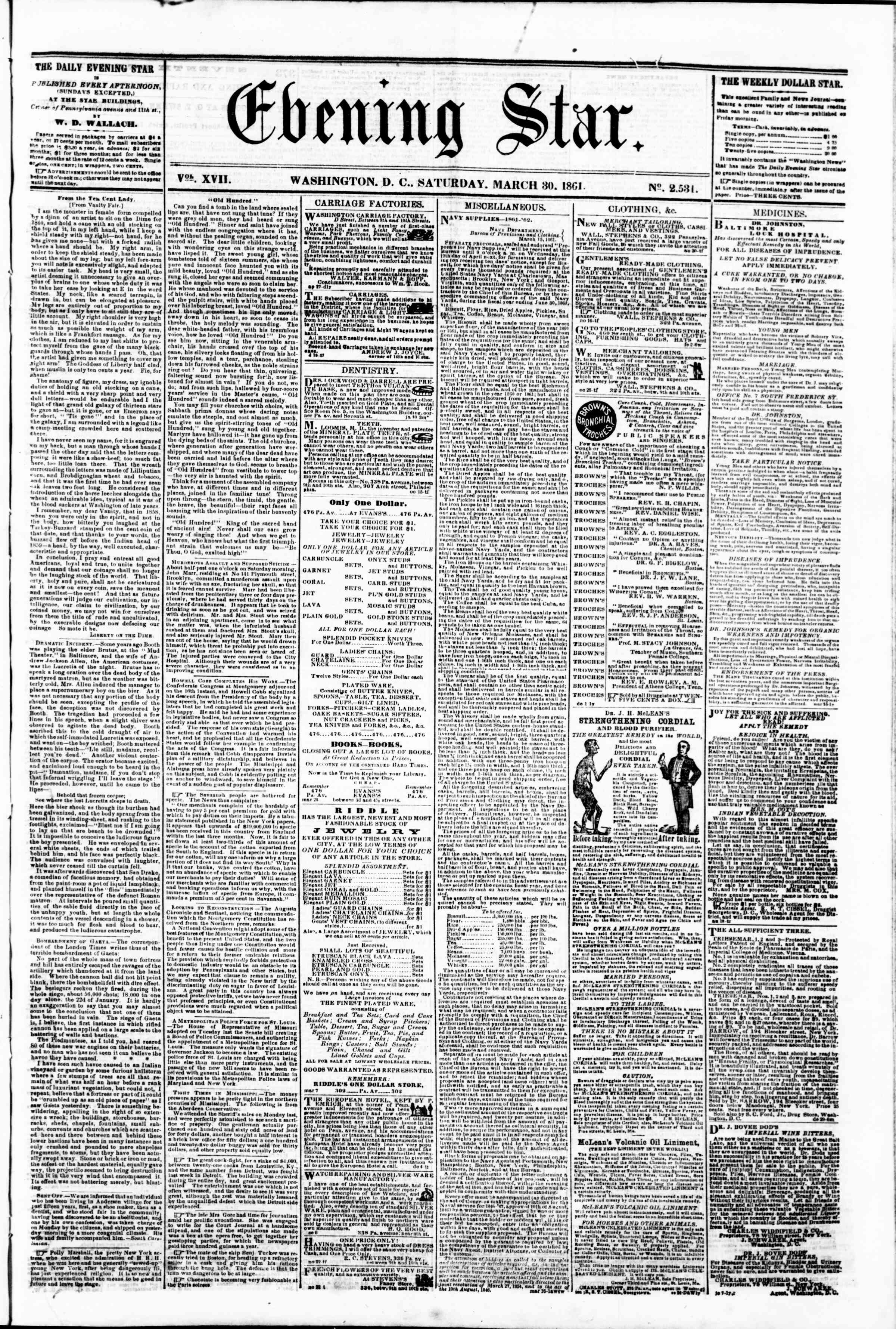 Newspaper of Evening Star dated March 30, 1861 Page 1