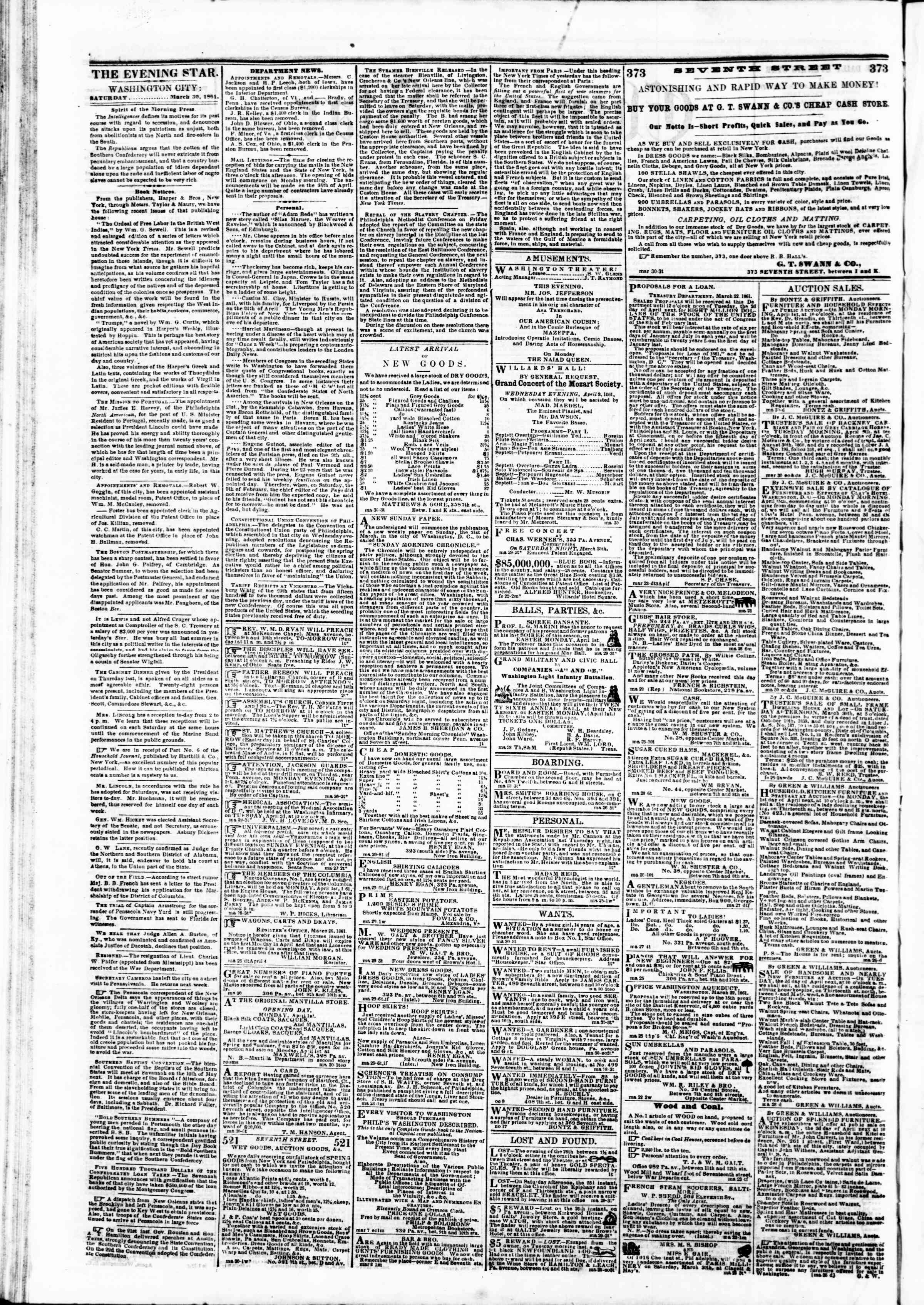 Newspaper of Evening Star dated March 30, 1861 Page 2