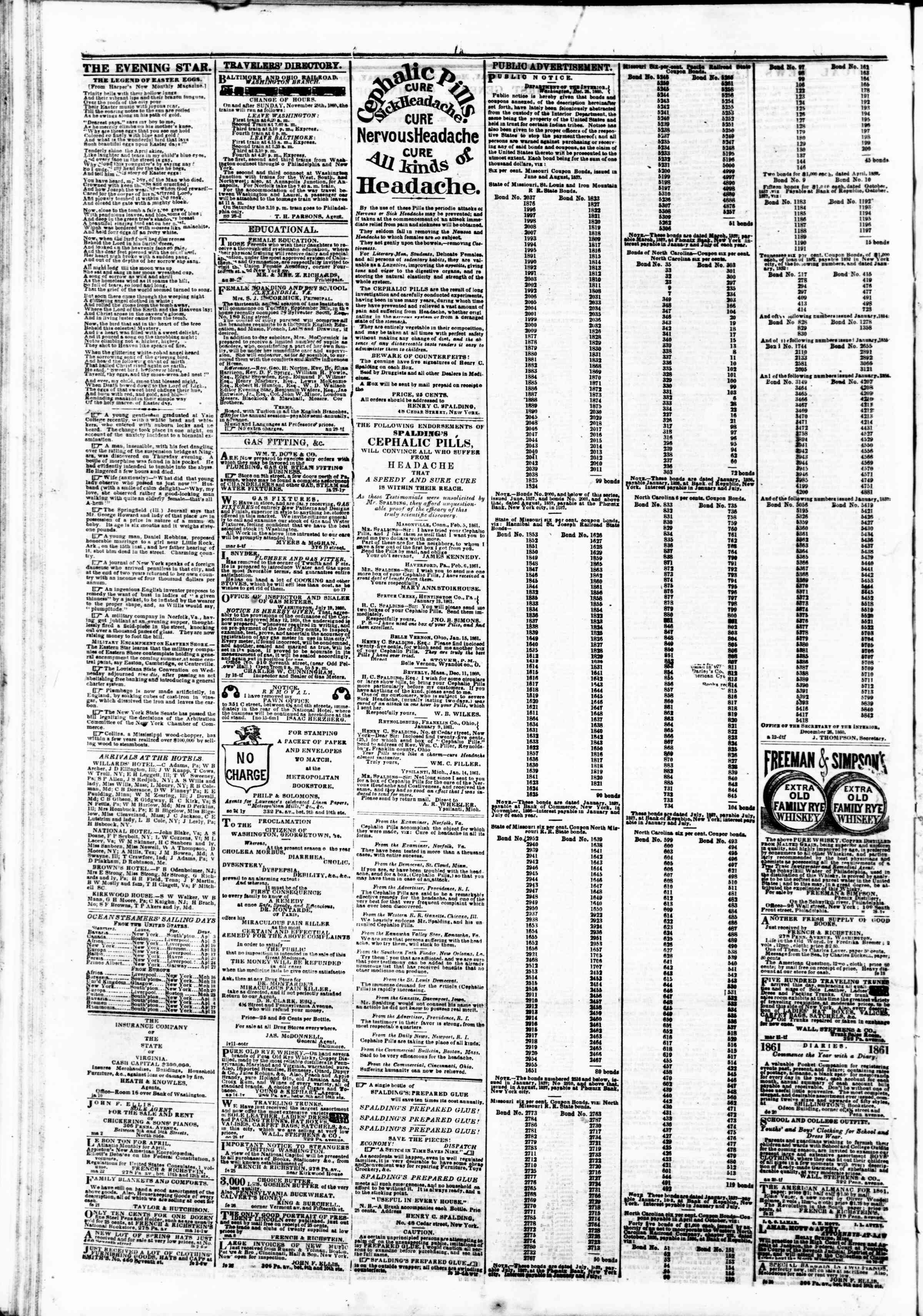 Newspaper of Evening Star dated March 30, 1861 Page 4