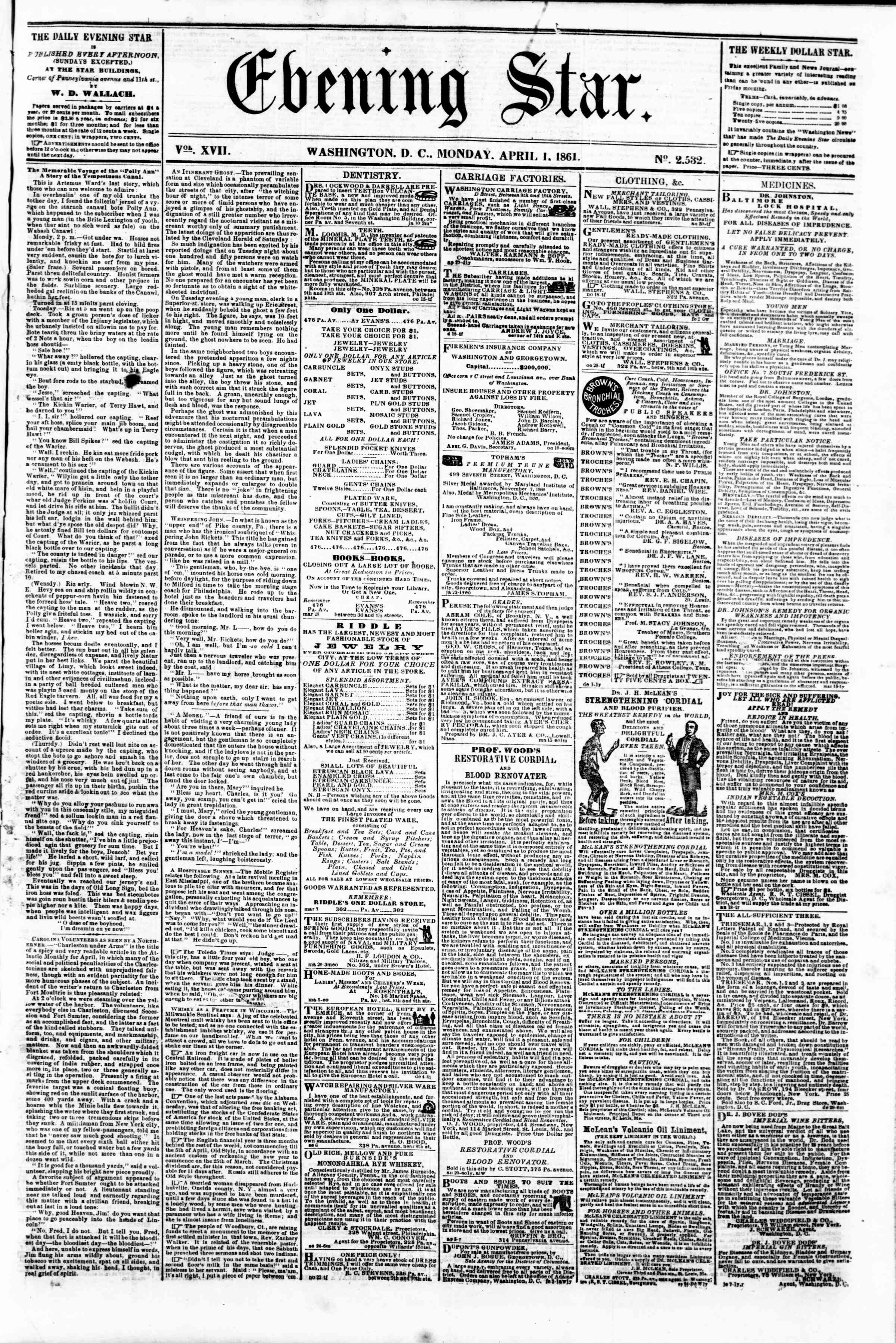 Newspaper of Evening Star dated April 1, 1861 Page 1