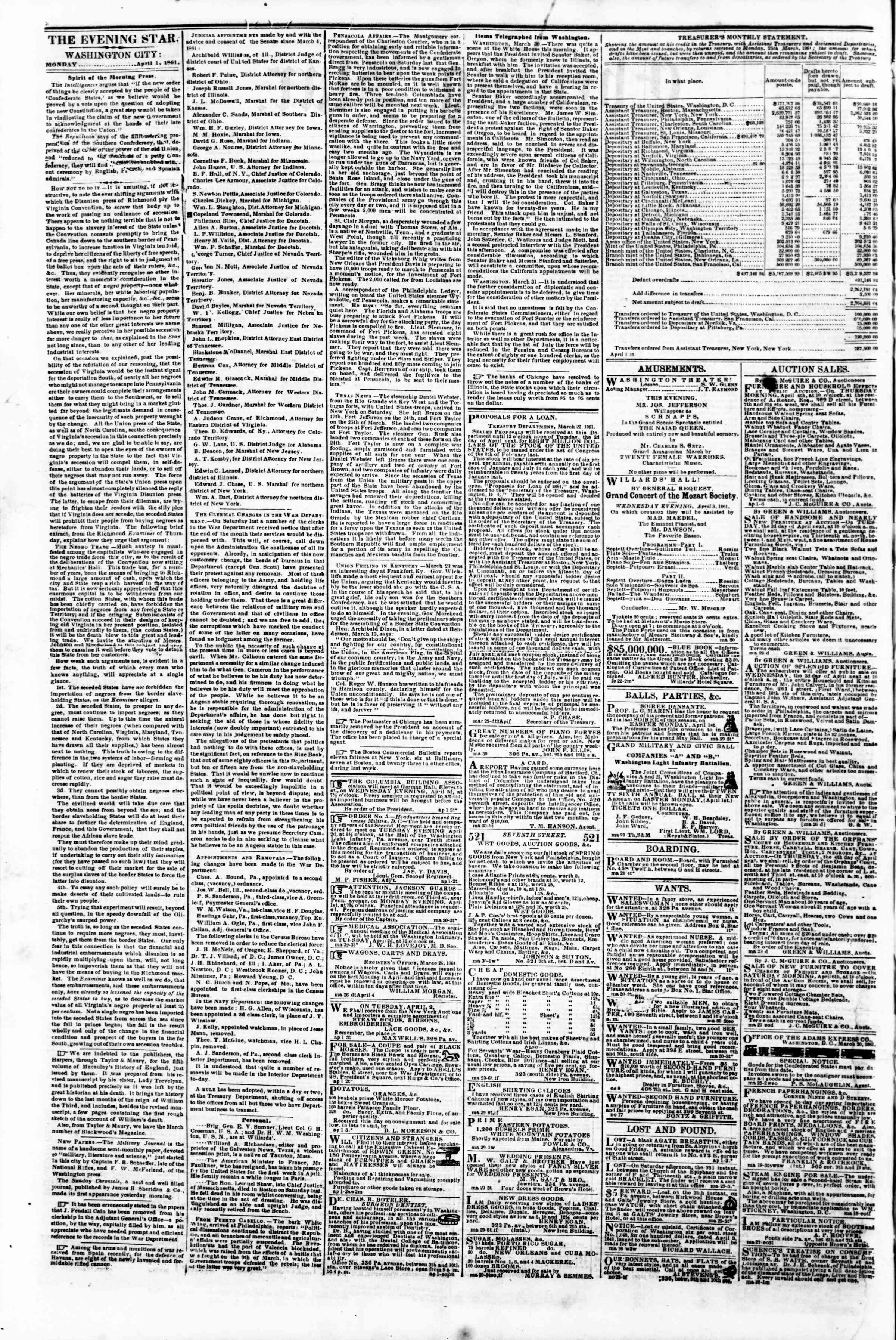 Newspaper of Evening Star dated April 1, 1861 Page 2