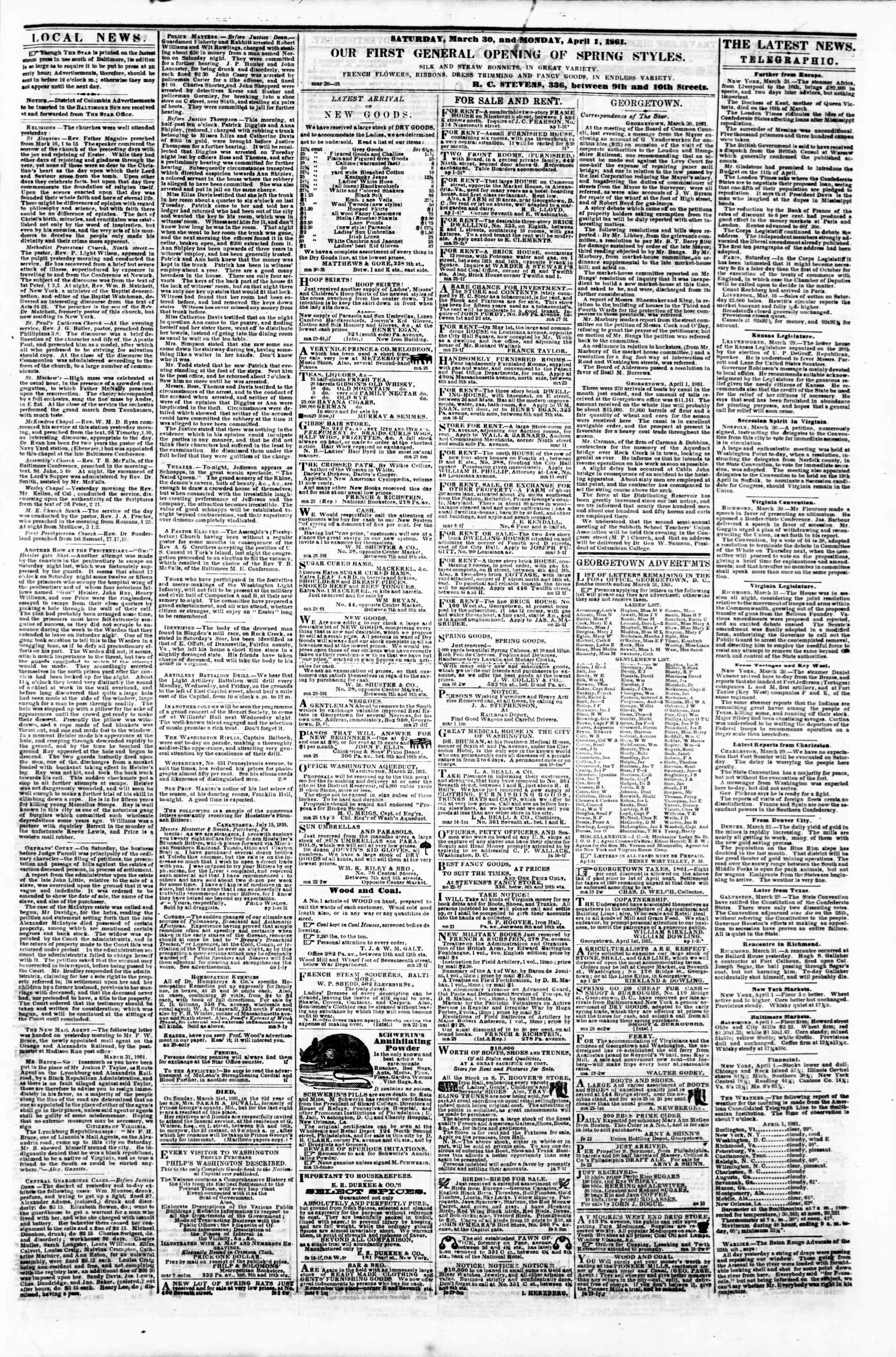 Newspaper of Evening Star dated April 1, 1861 Page 3