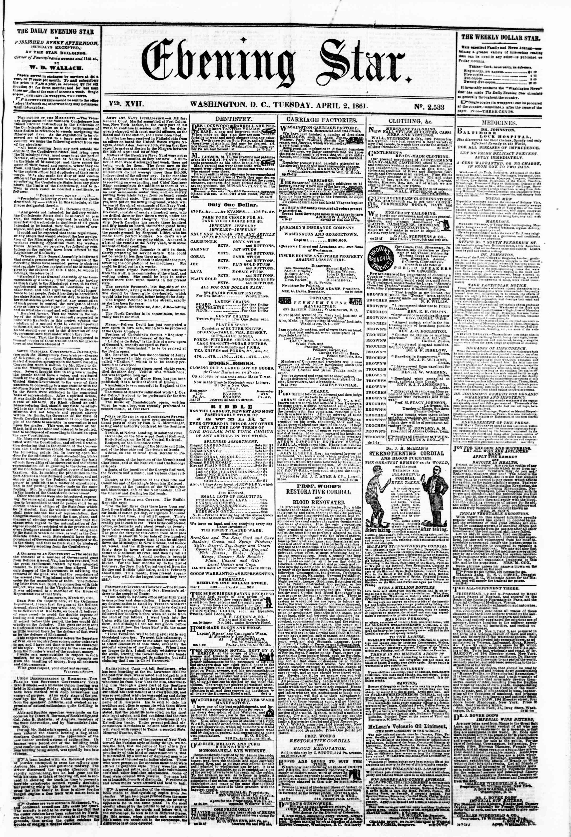 Newspaper of Evening Star dated April 2, 1861 Page 1