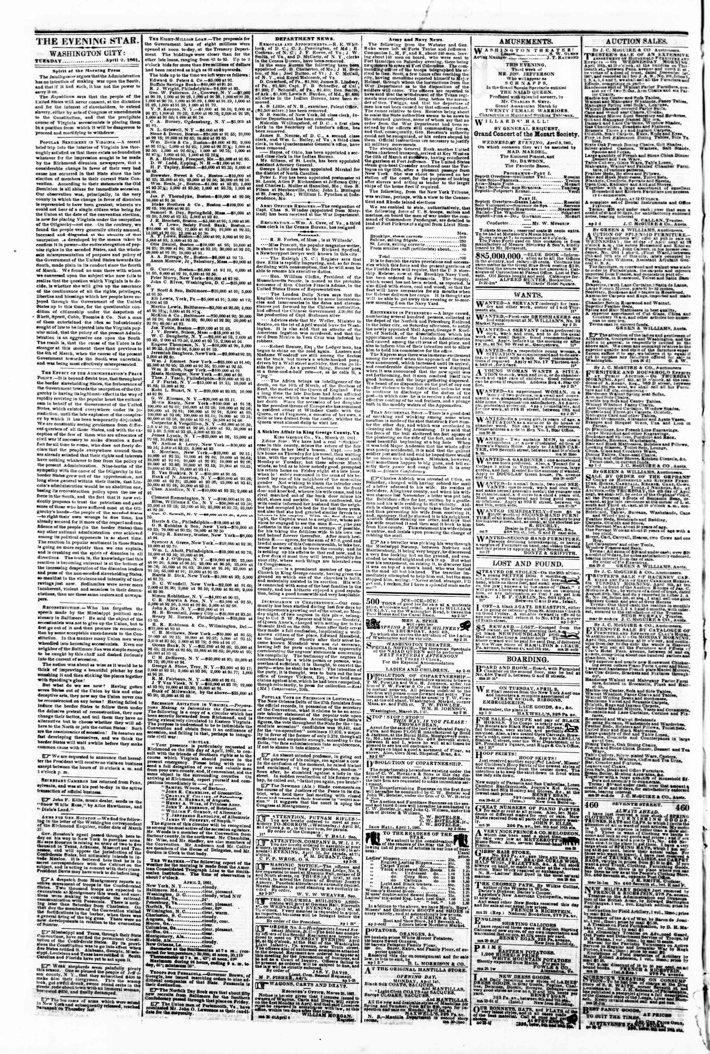 Newspaper of Evening Star dated April 2, 1861 Page 2