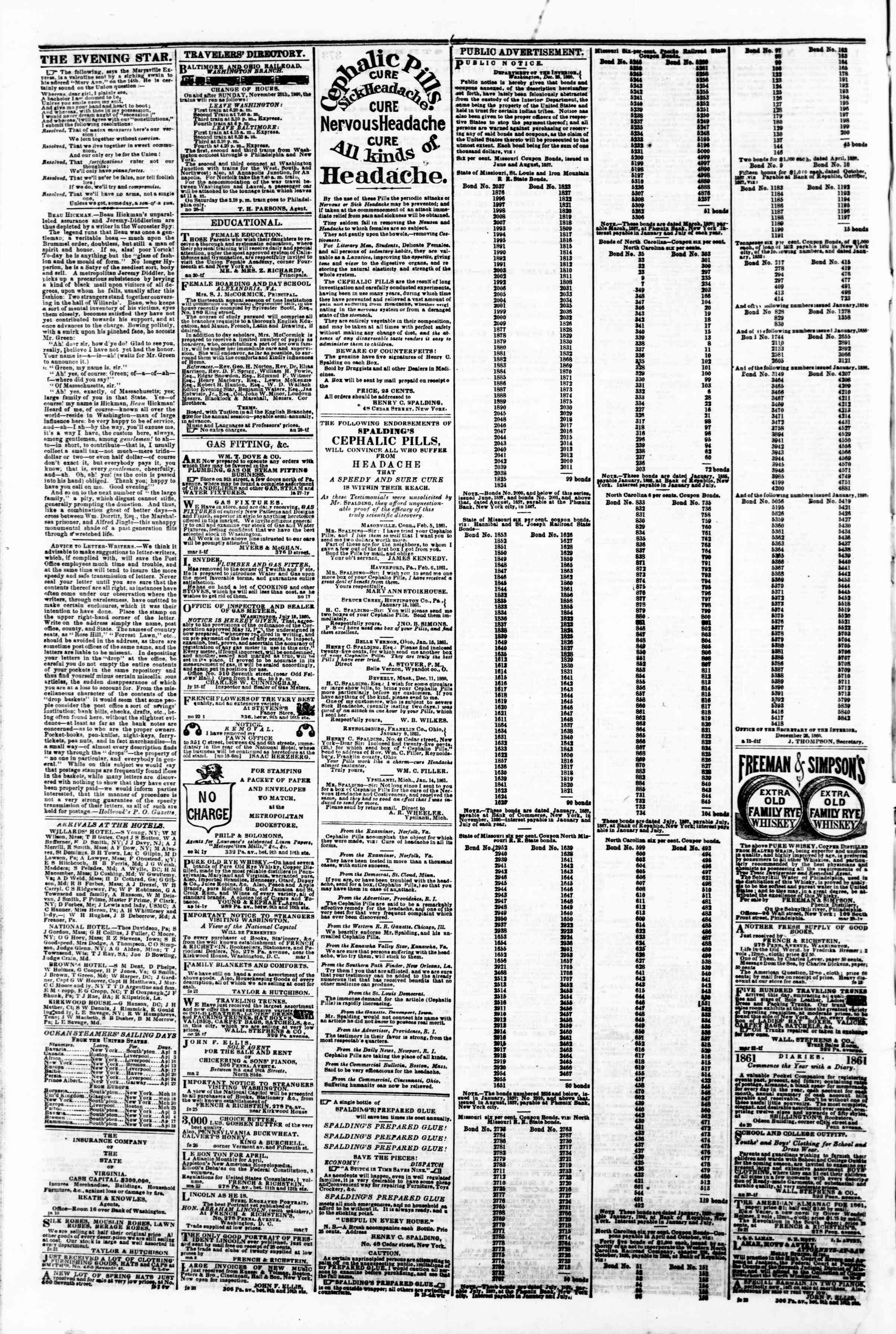 Newspaper of Evening Star dated April 2, 1861 Page 4