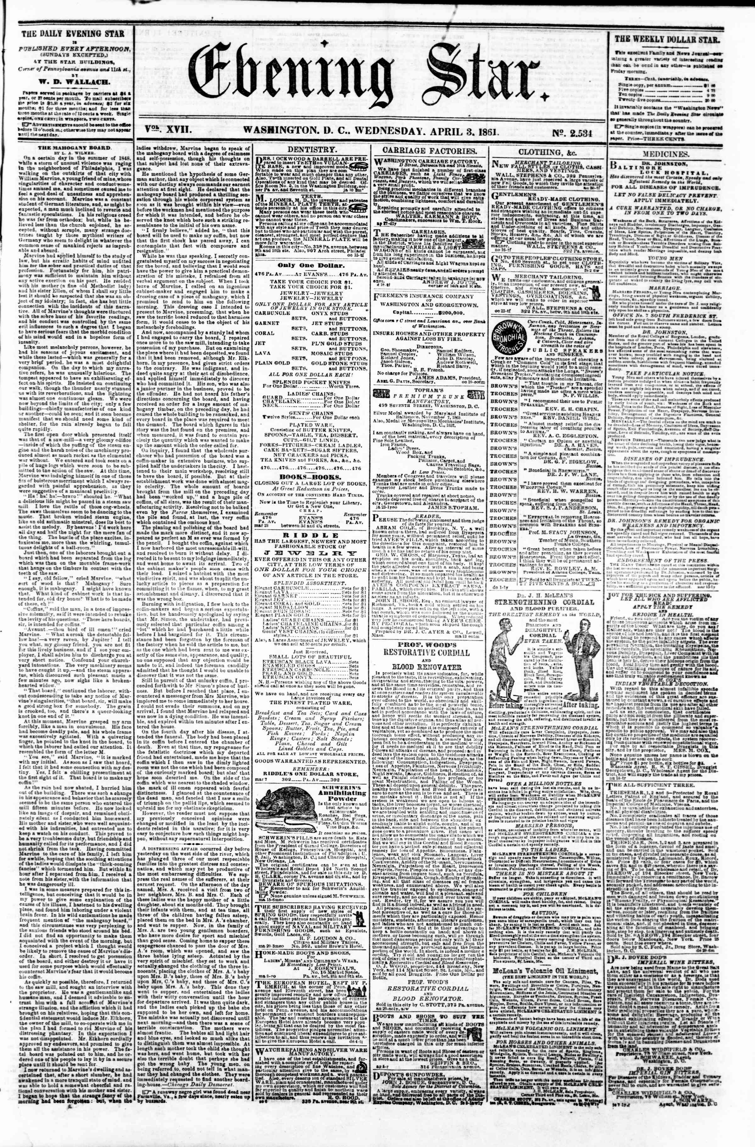 Newspaper of Evening Star dated April 3, 1861 Page 1
