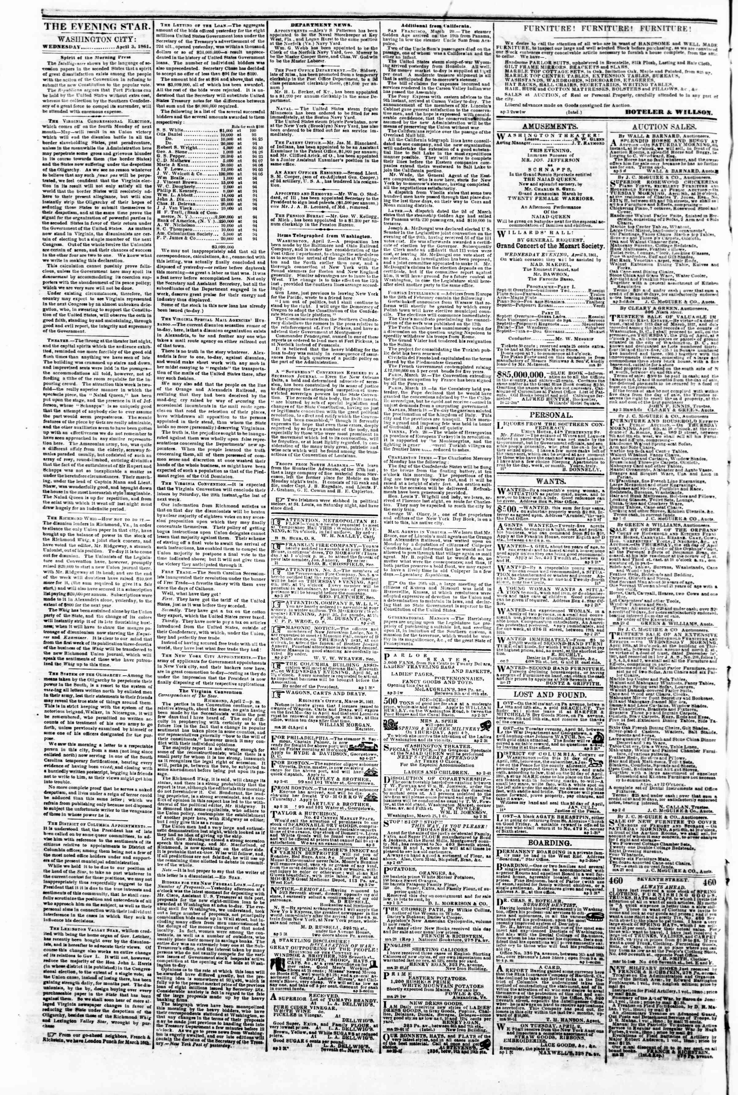 Newspaper of Evening Star dated April 3, 1861 Page 2