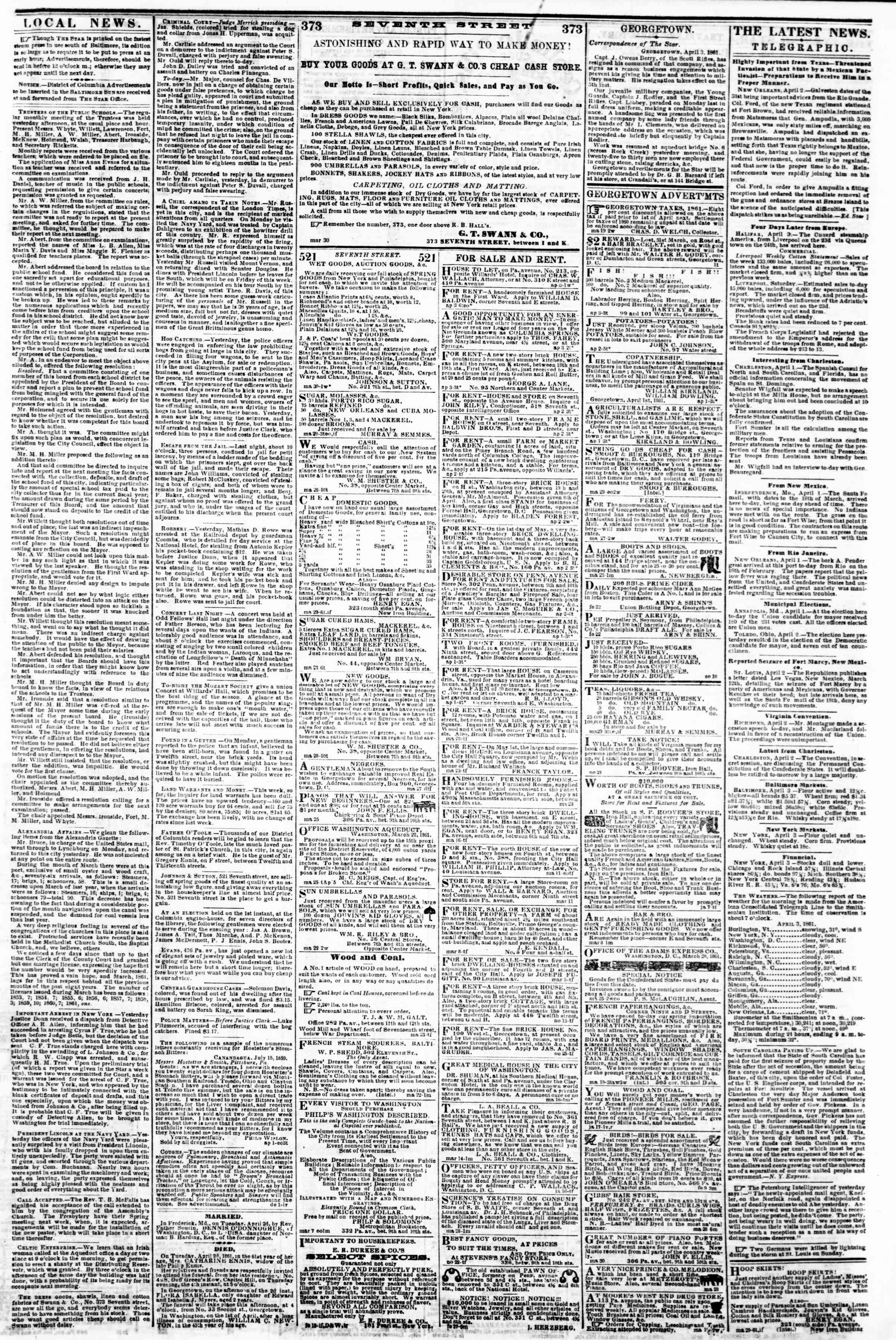 Newspaper of Evening Star dated April 3, 1861 Page 3