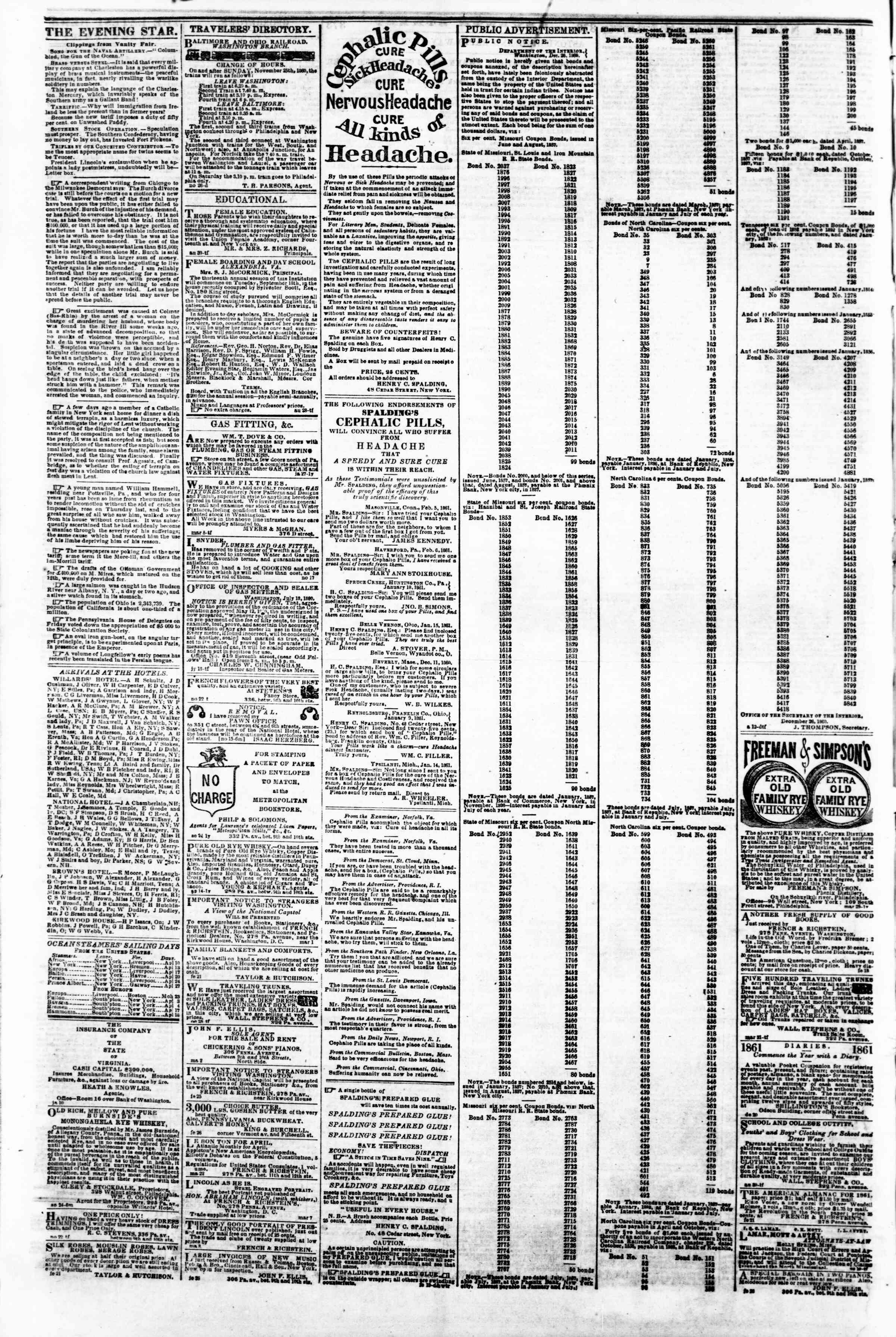 Newspaper of Evening Star dated April 3, 1861 Page 4