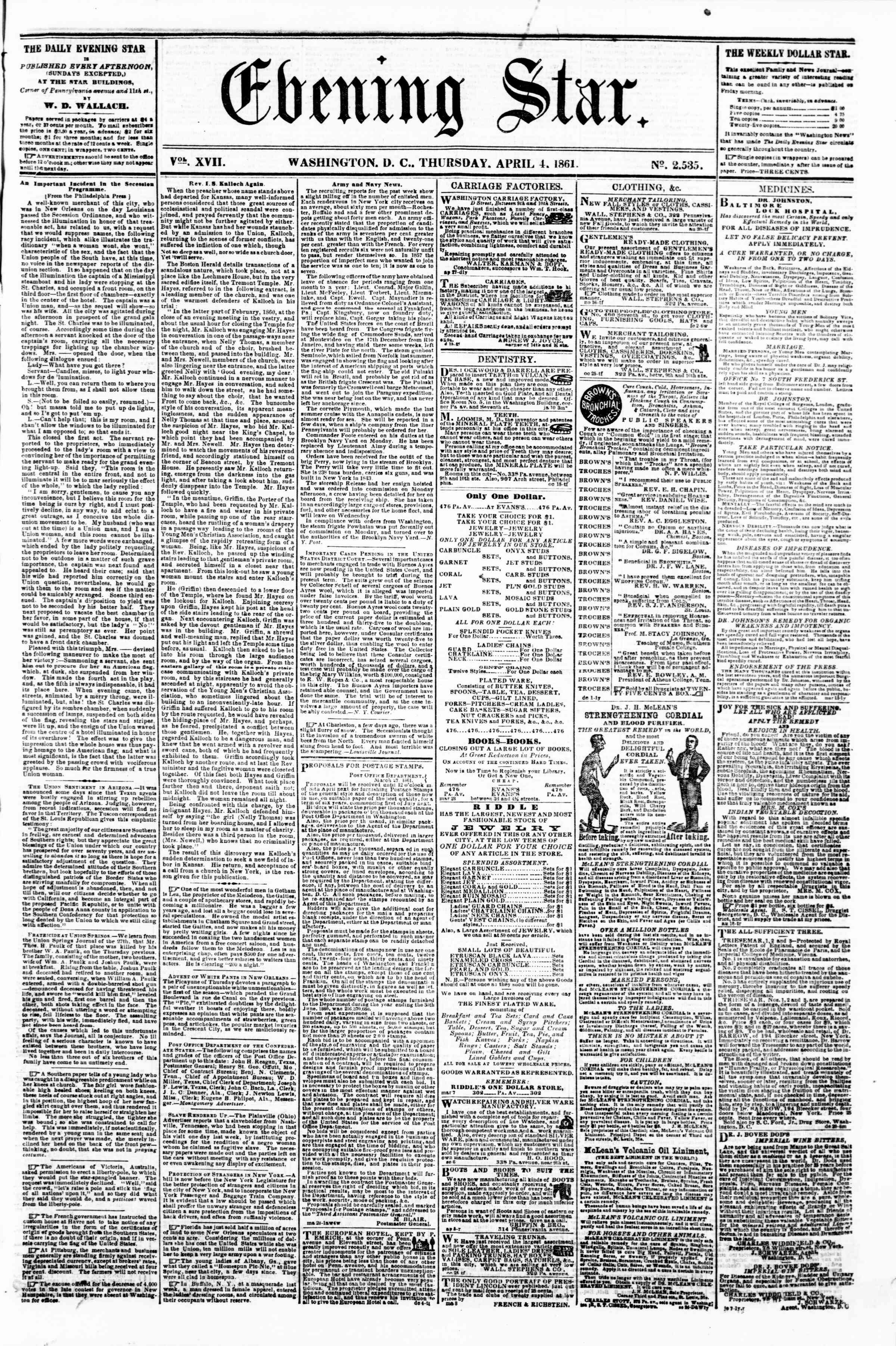 Newspaper of Evening Star dated April 4, 1861 Page 1