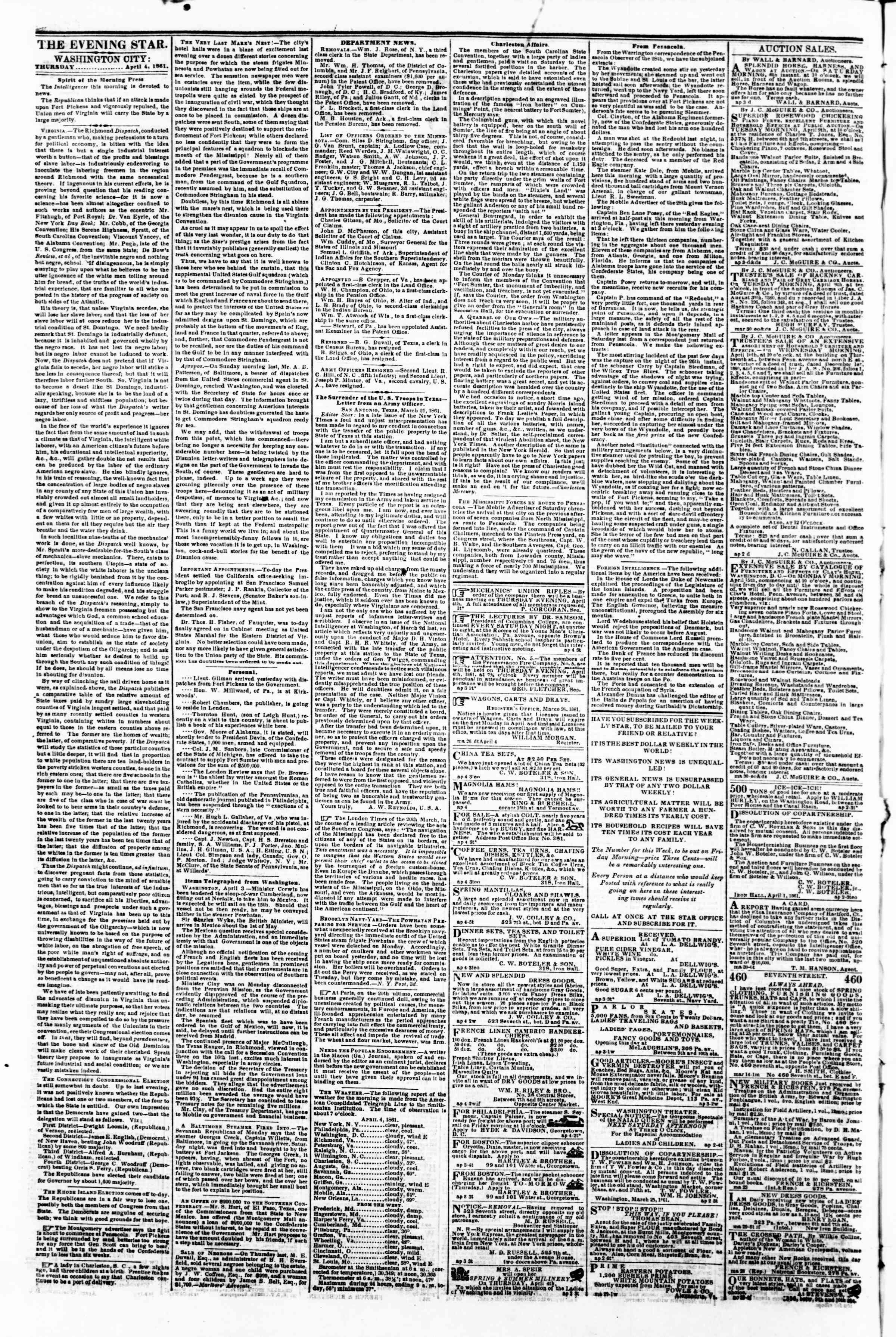 Newspaper of Evening Star dated 4 Nisan 1861 Page 2