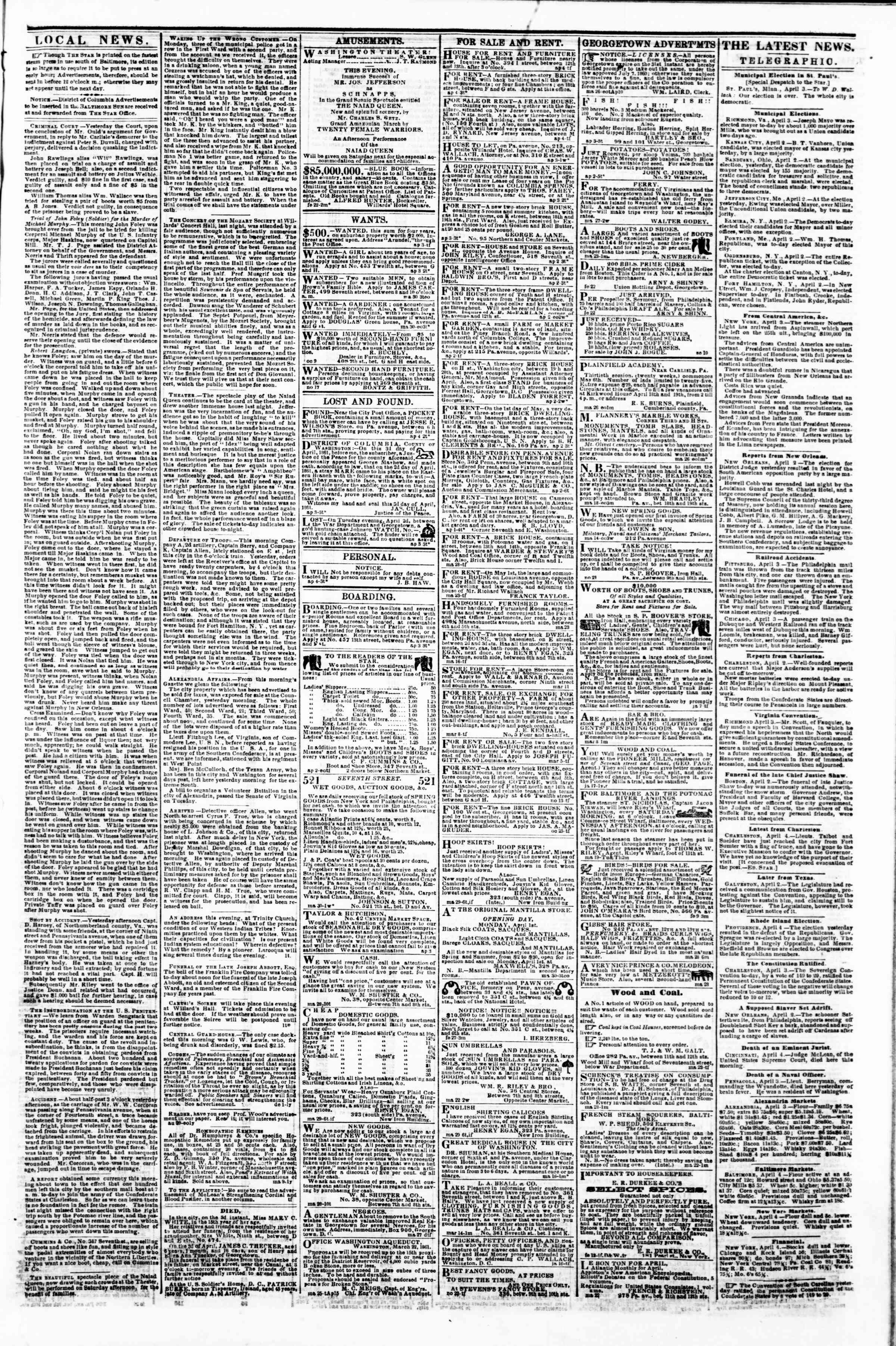 Newspaper of Evening Star dated April 4, 1861 Page 3
