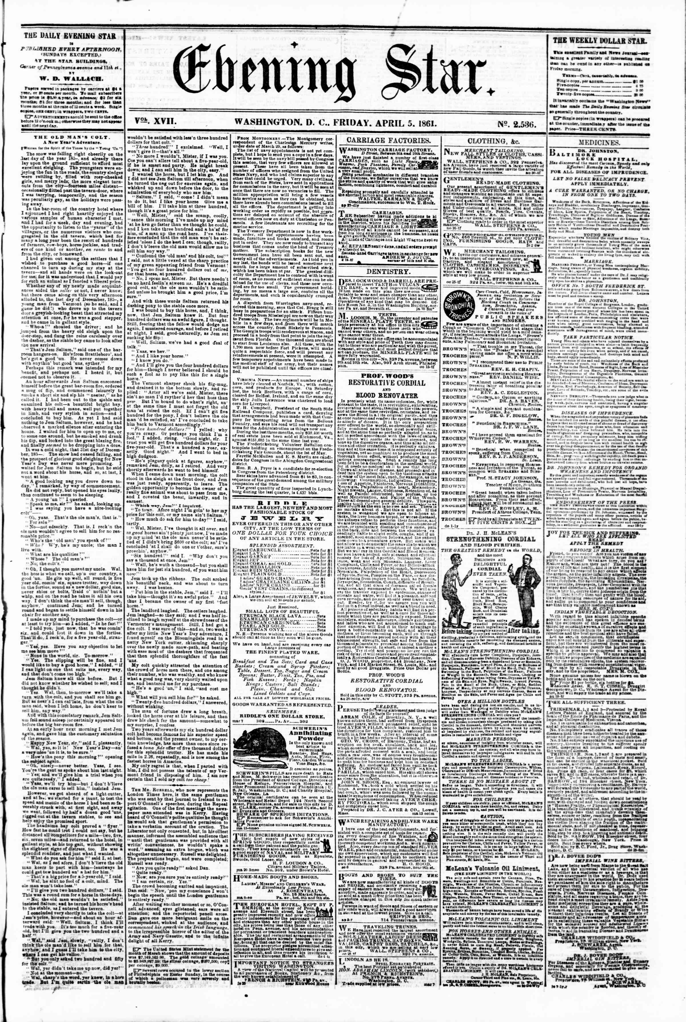 Newspaper of Evening Star dated April 5, 1861 Page 1